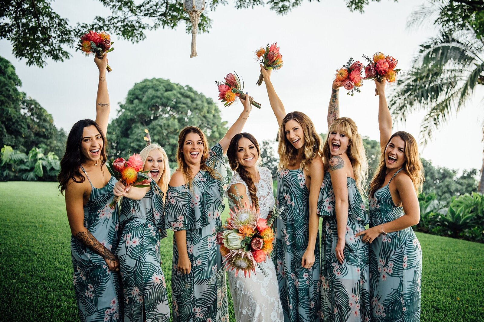 girls having fun on wedding day