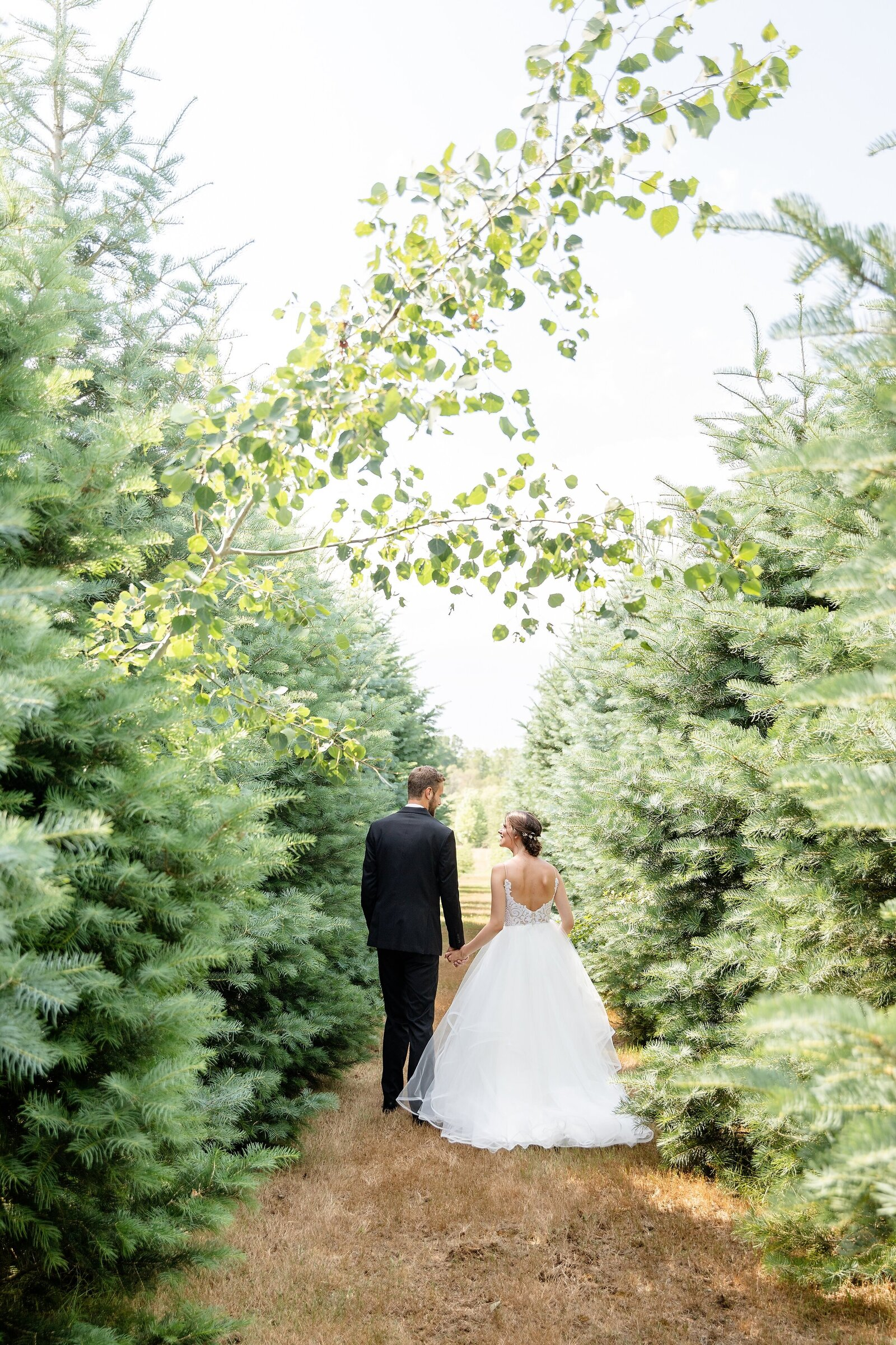 Future-newlyweds-walk-holding-hands-looking-into-each-others-eyes-between-the-beautiful-pine-trees-at-arrowwood-farms