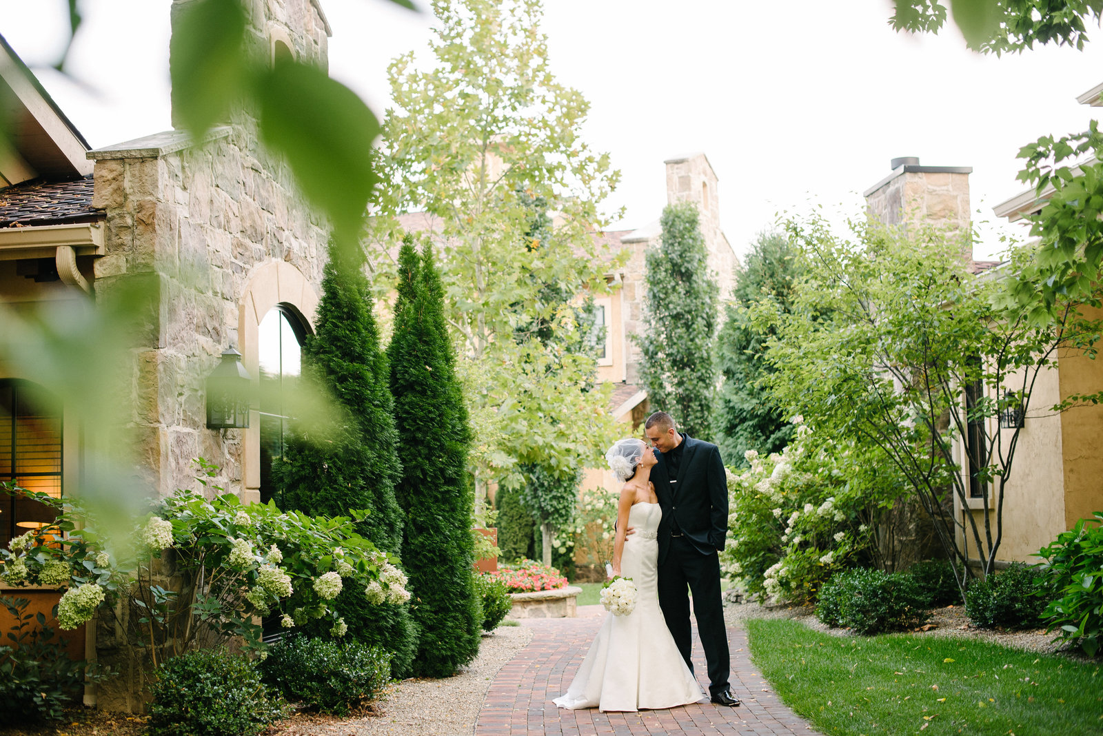 Gervasi Vineyards Canton OH bride and groom portraits