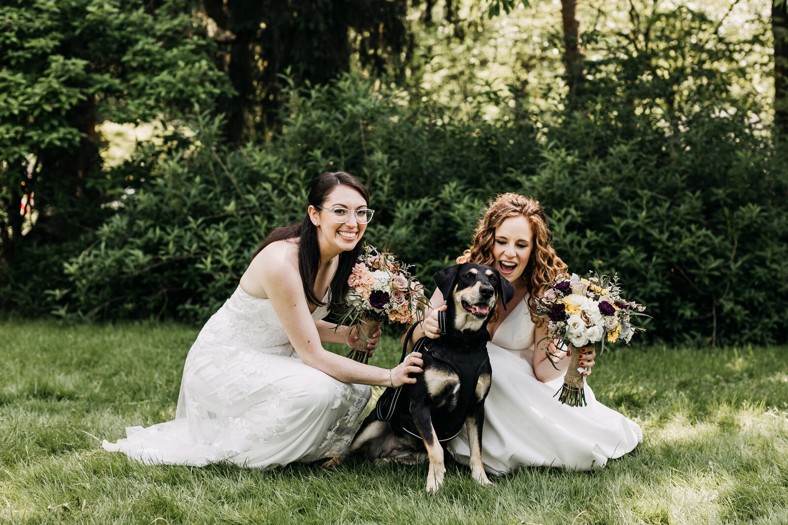 gay brides with dog