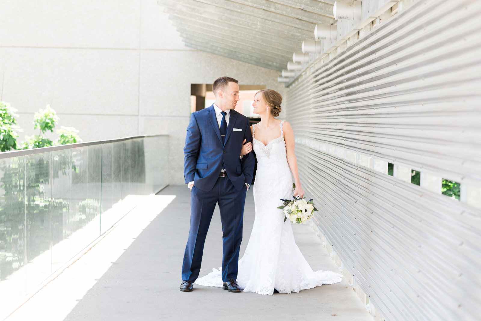 Midwest Iowa Wedding Photographer At Hotel Vetro City Bride And Groom In Navy
