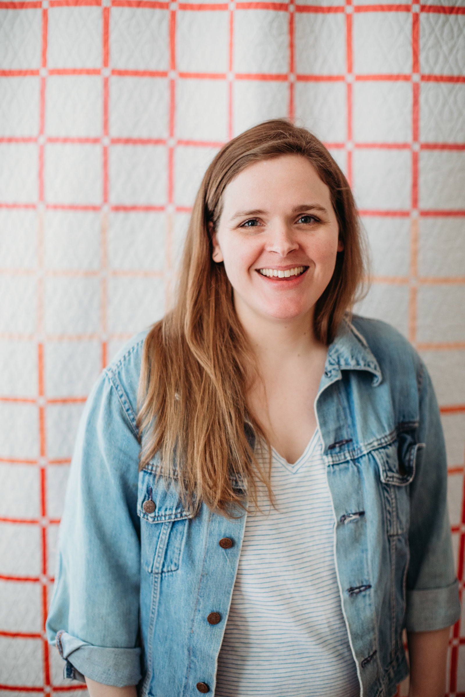 headshot with a quilt as an image backdrop in boston