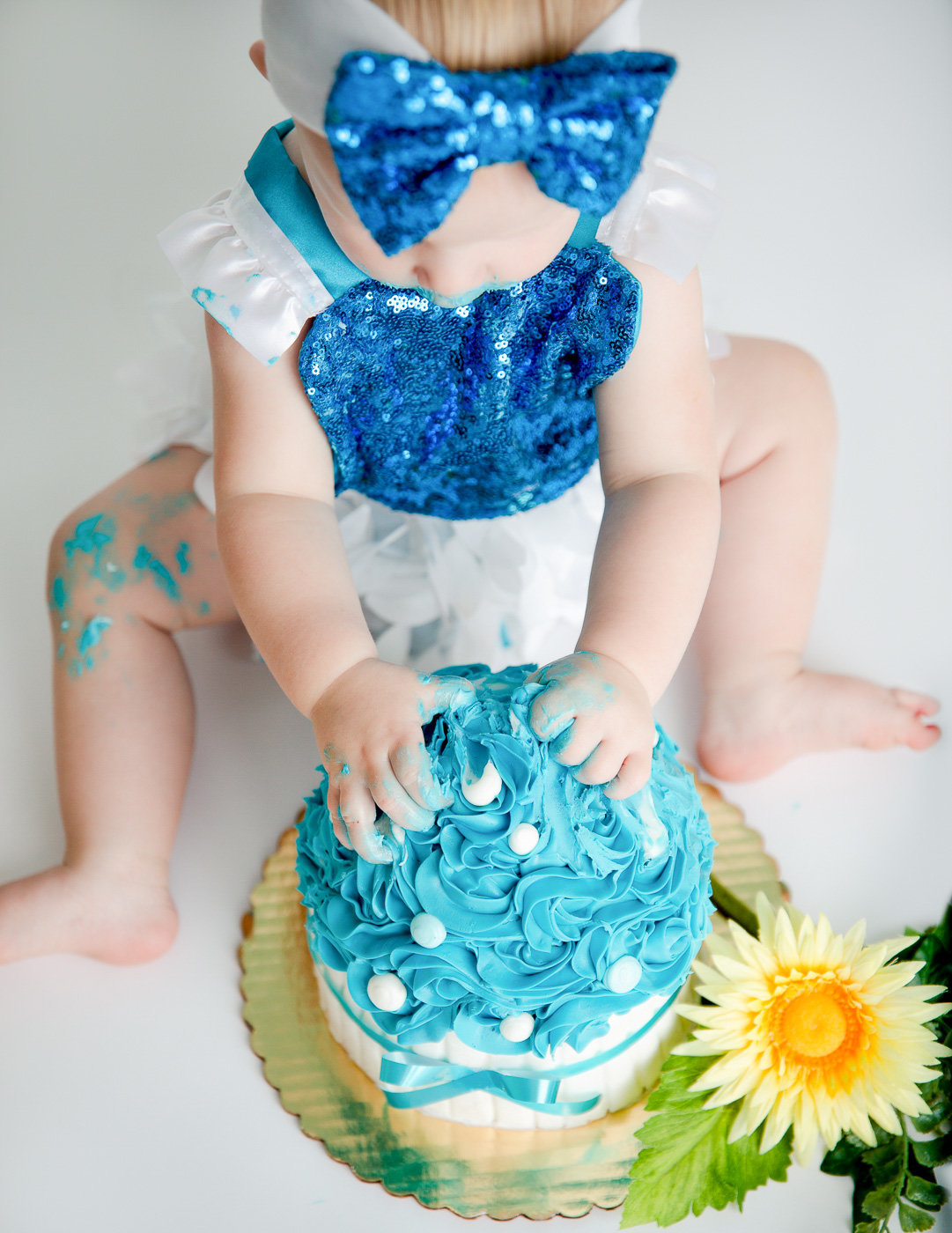 Precious one year old cake smash in our studio in Rochester, NY.