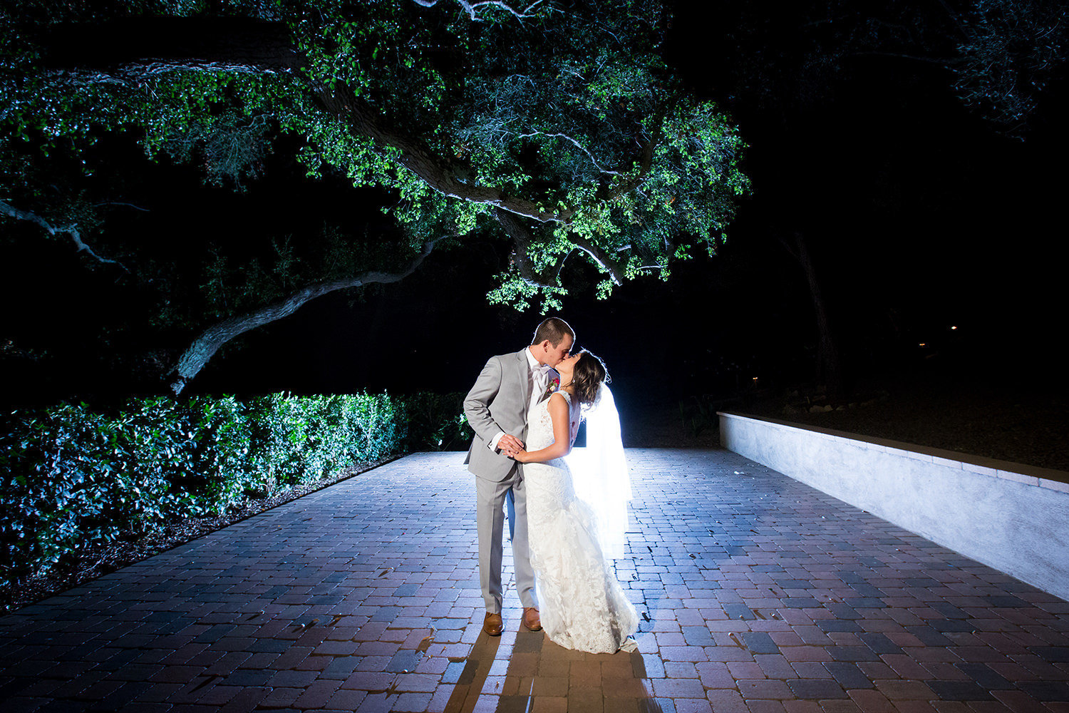 romantic night image bride and groom