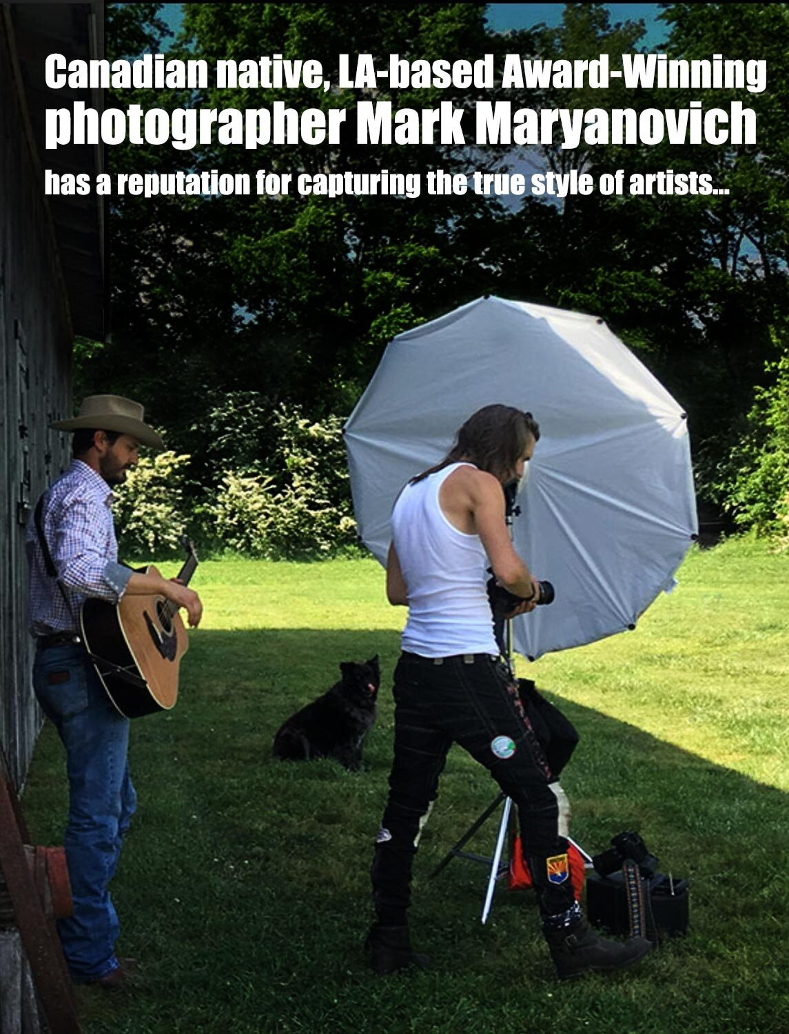 Interview LA Photographer Mark Maryanovich South 40 Creative Spotlight feature behind the scenes Mark standing next to reflector country musician standing behind him holding acoustic guitar page 2