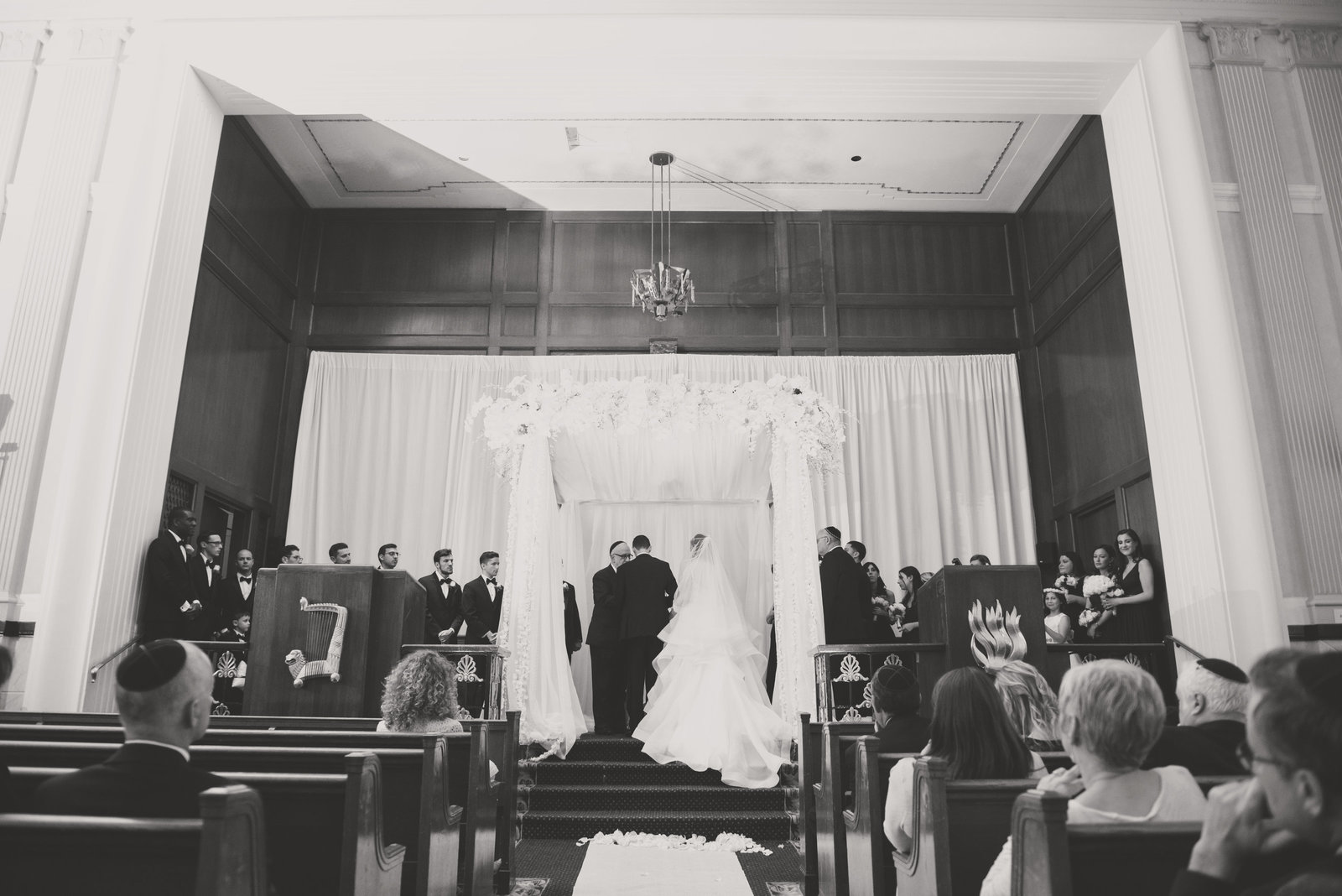 Black and white photo of a Jewish ceremony