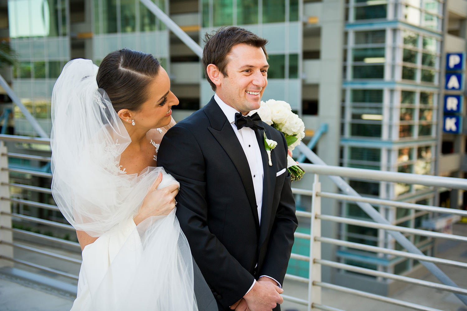 First look for the groom and bride at the Omni Hotel