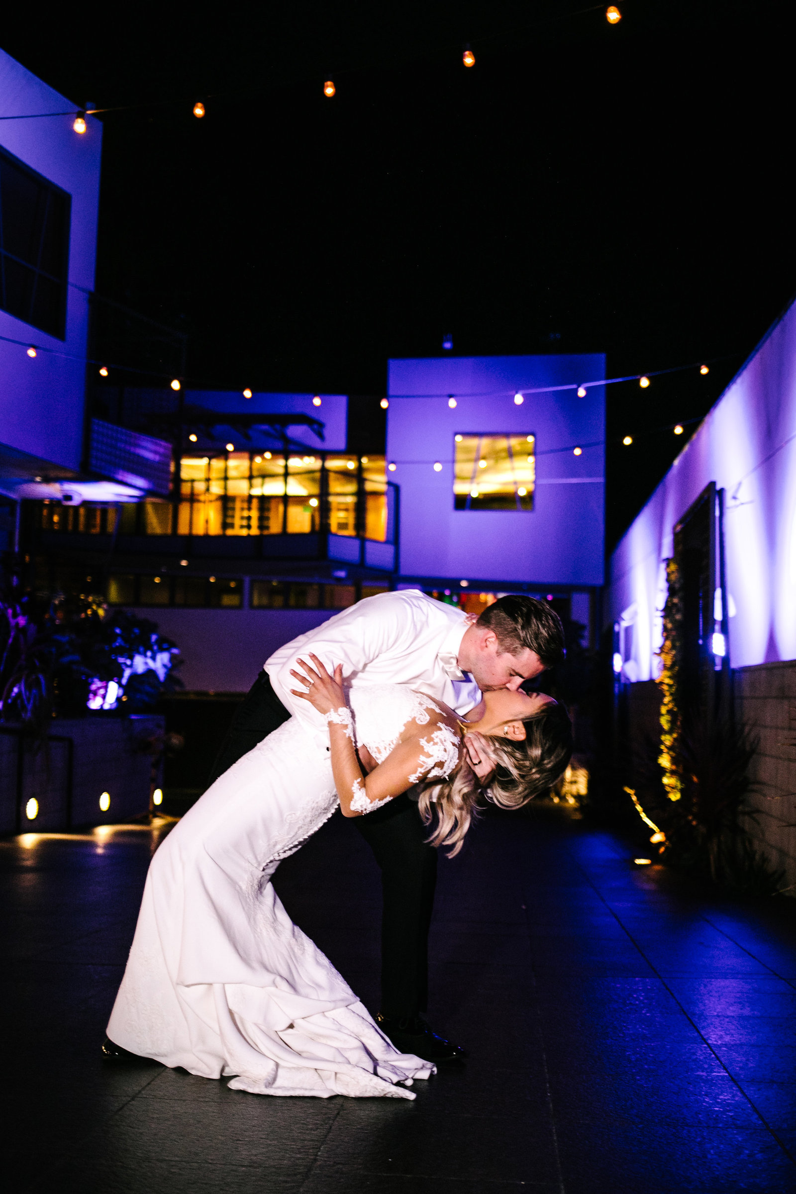 beautiful night time photo of bride and groom at seven degrees