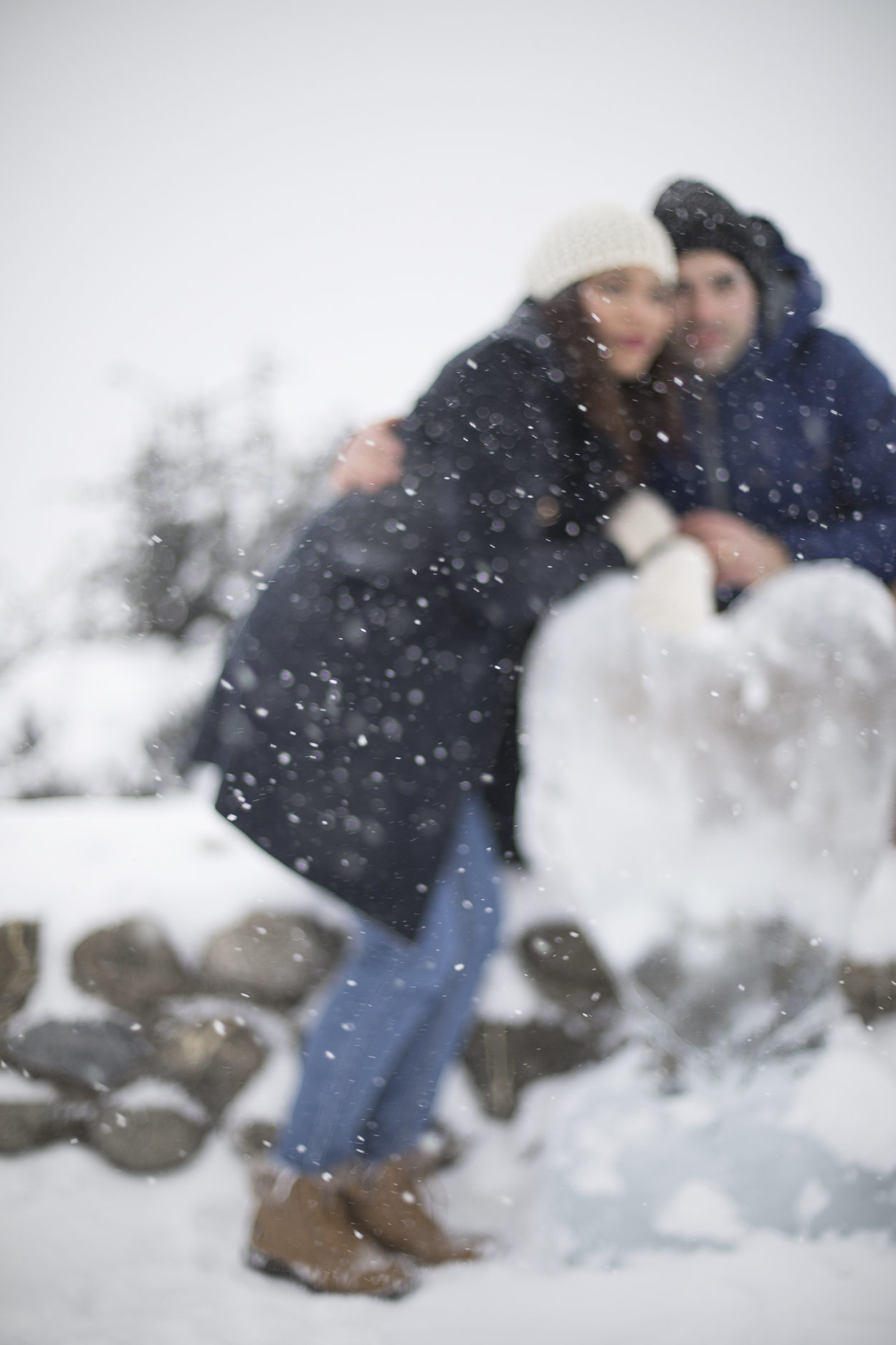 couple love snow winter