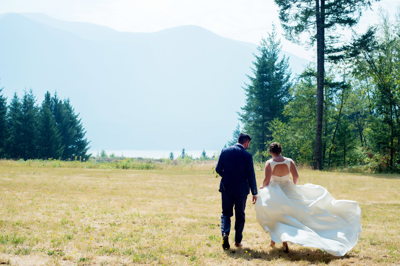 wedding dress billows in the wind at columbia river gorge
