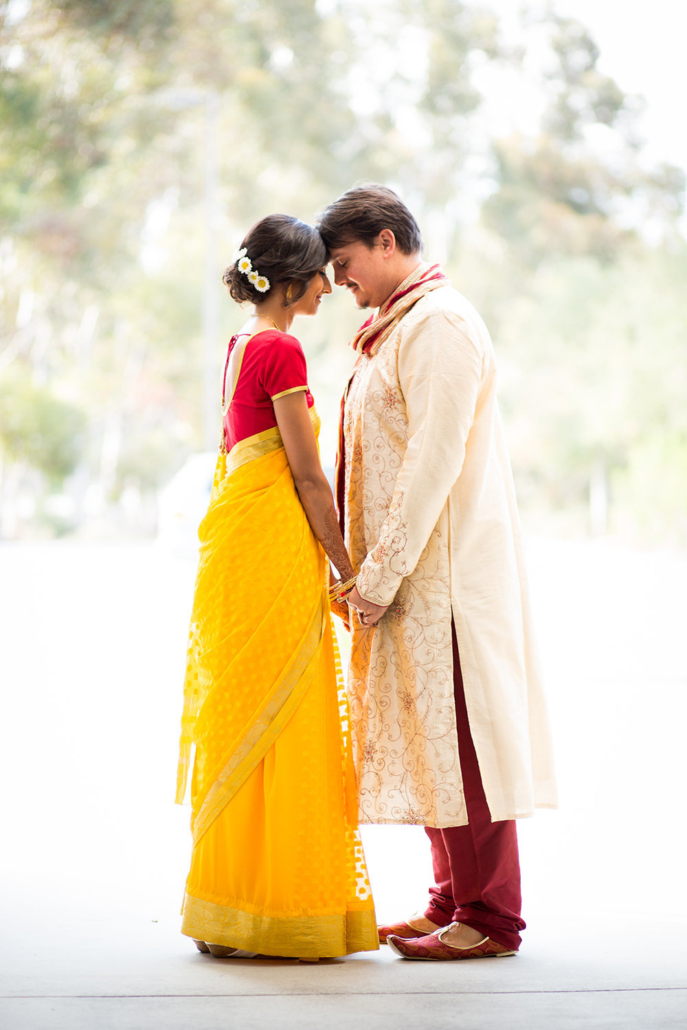 Bride and Groom in Sari and Sherwani | Romantic Moment Captured in a Portrait