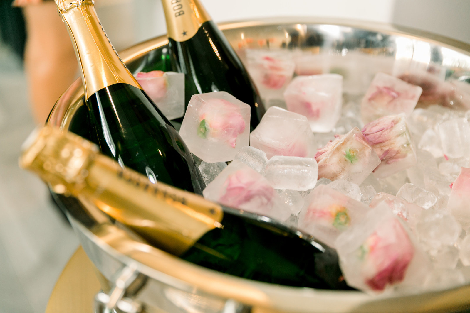 champagne and floral ice cubes
