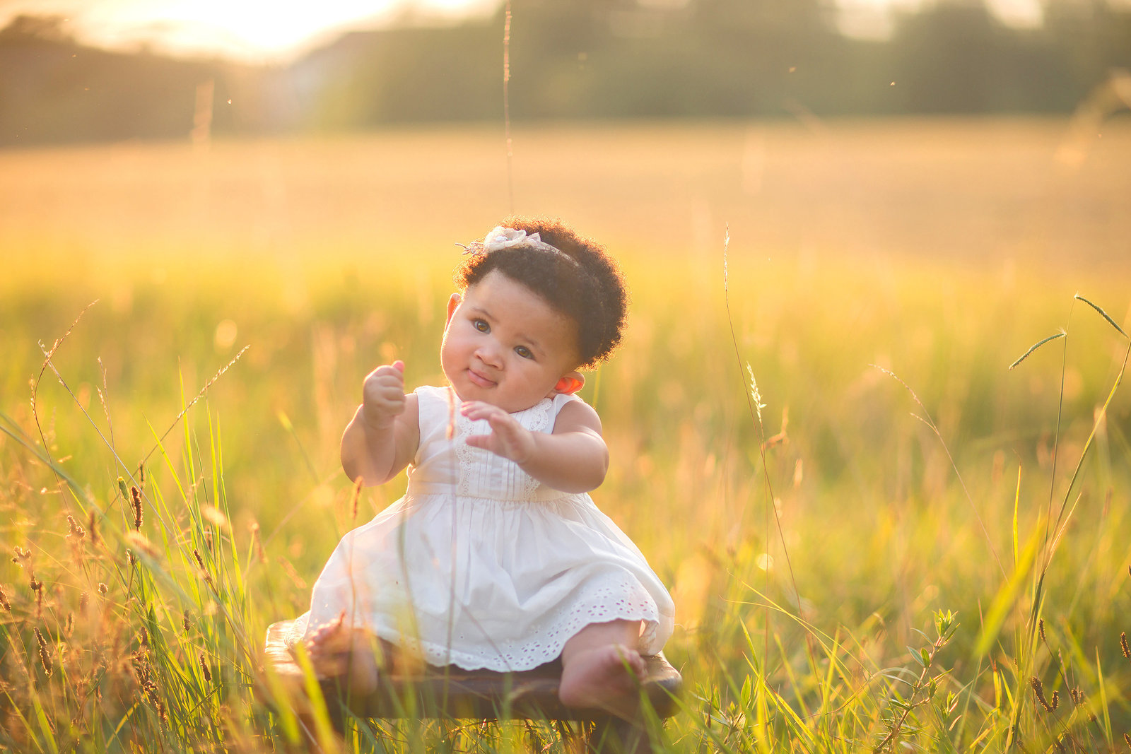 6-Months-Baby-Dress-Field-Sunset-Sitting