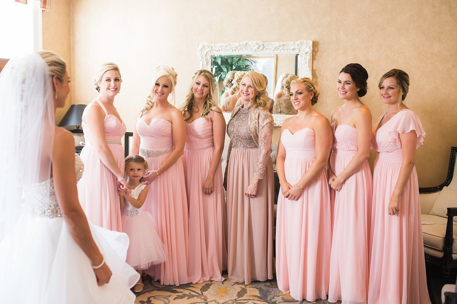 M Harris Studios_Trump National Golf Club Wedding_pink bridesmaid gown