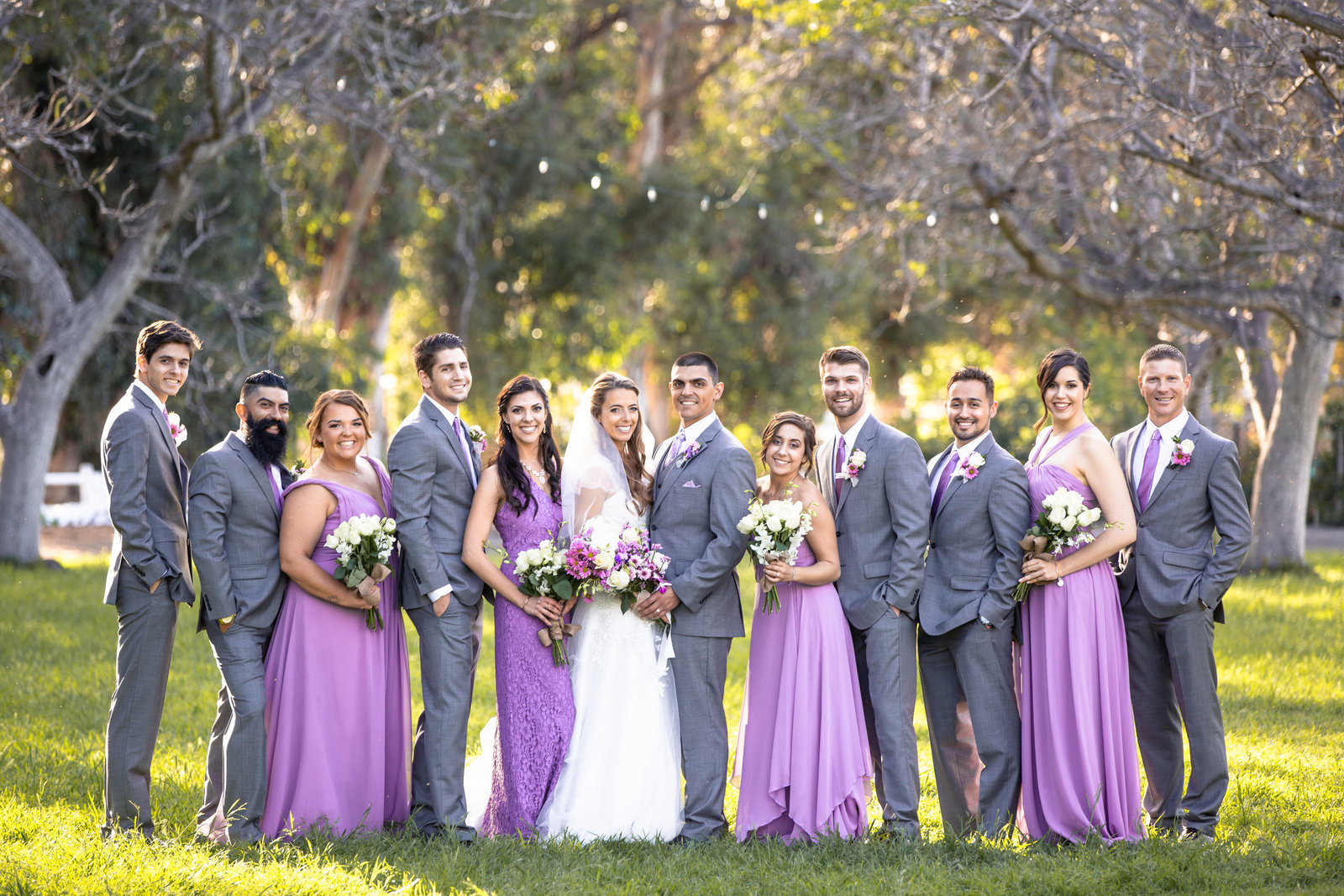 bridal party photo at walnut grove wedding venue in moorpark california