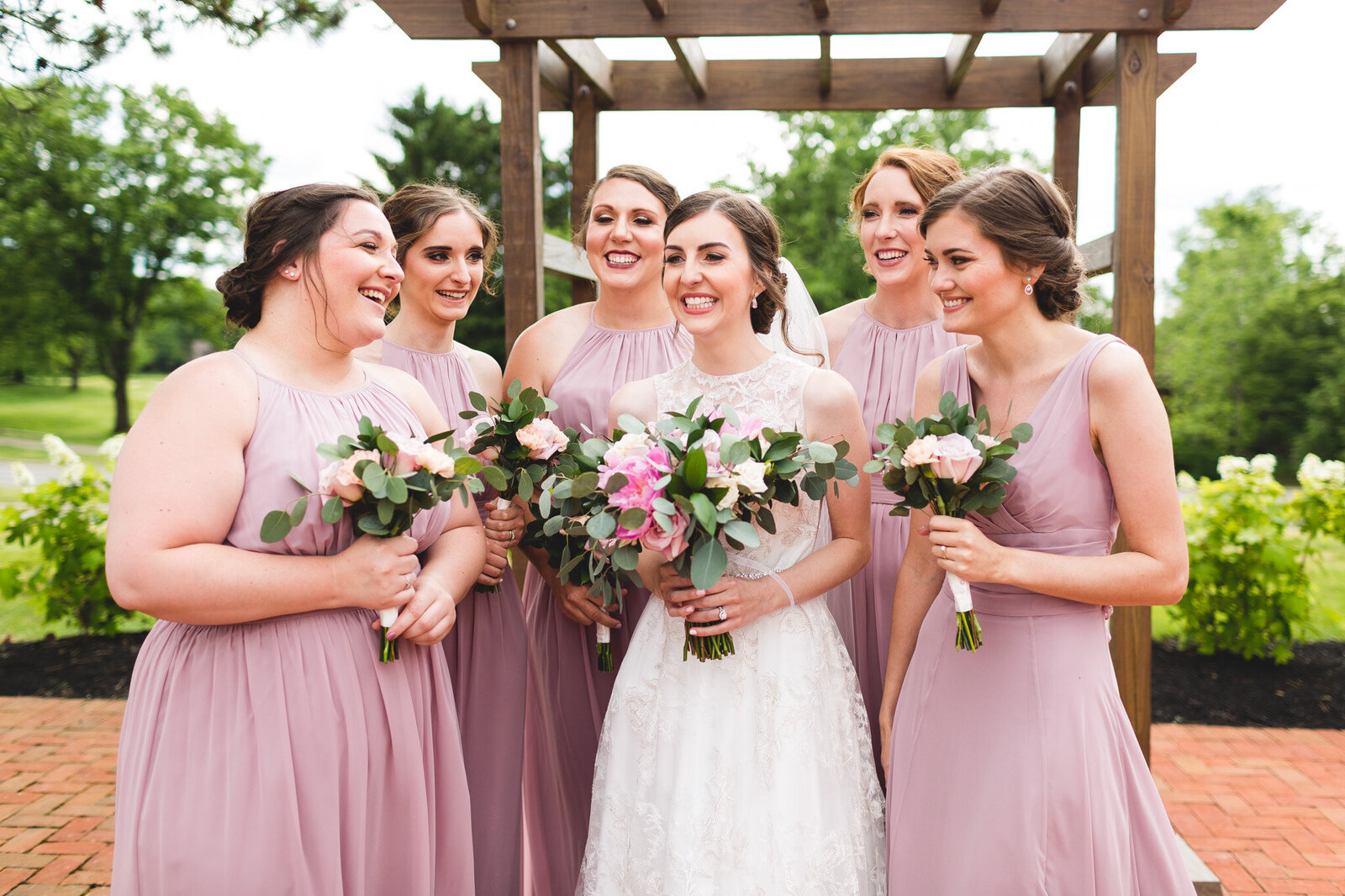 summer wedding bridal party laughing little turtle ohio