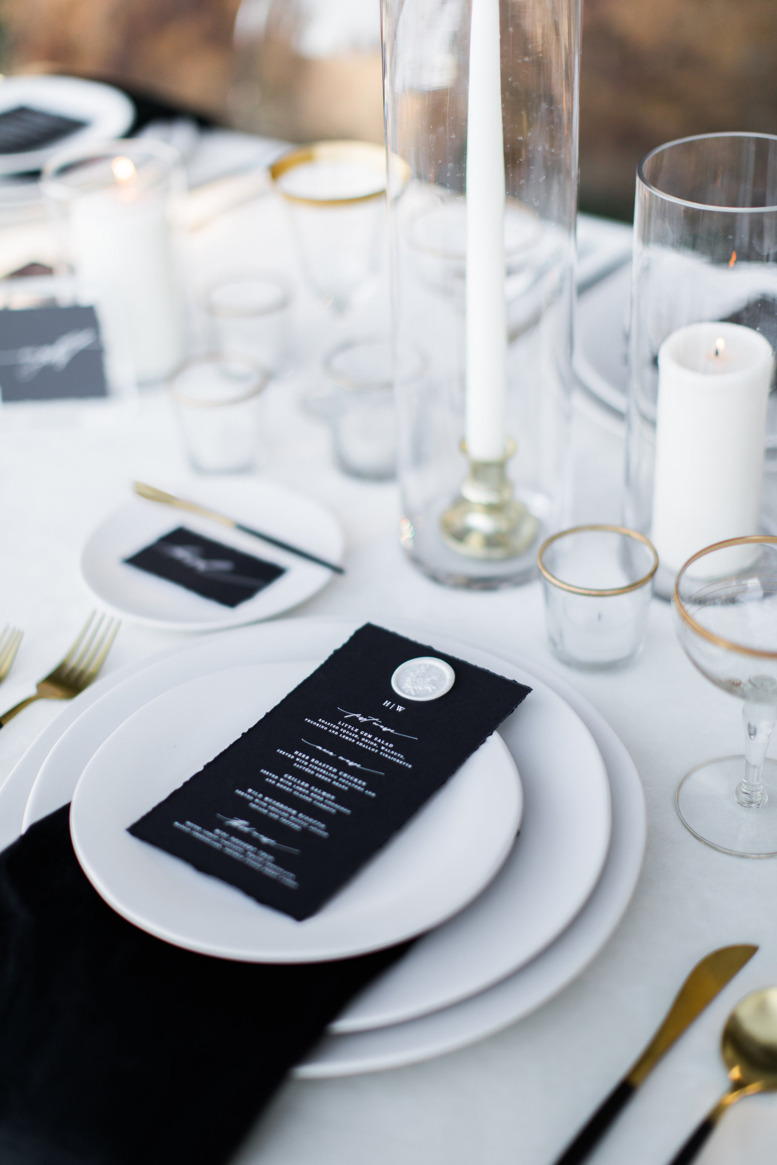 wedding tablescape with menu and glassware