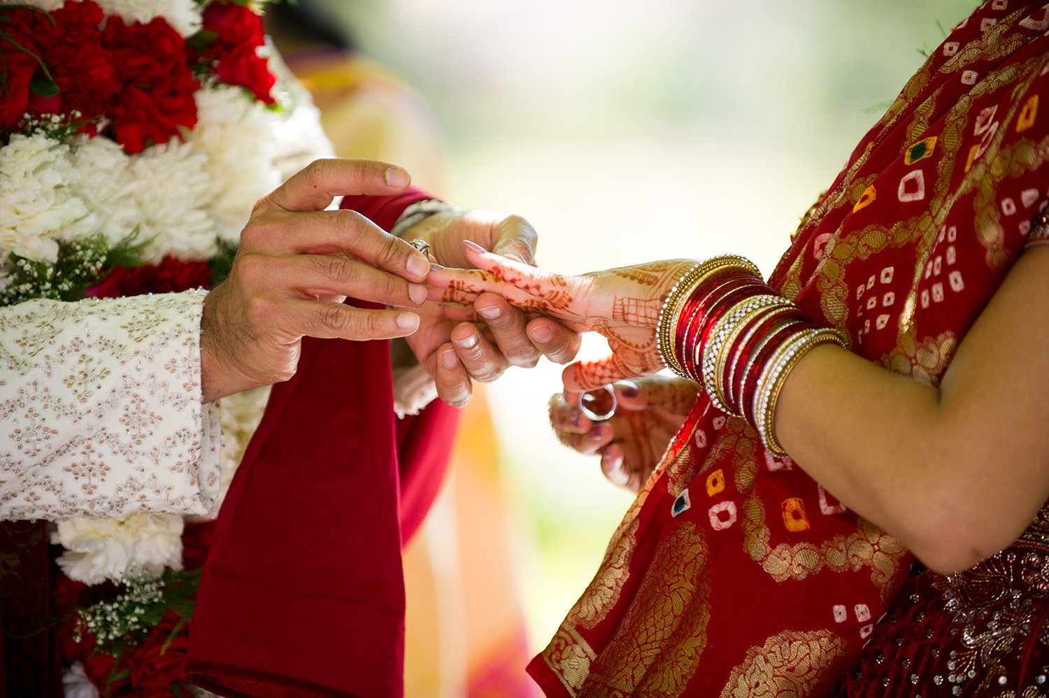 Ring exchange close up during an Indian wedding cereomony