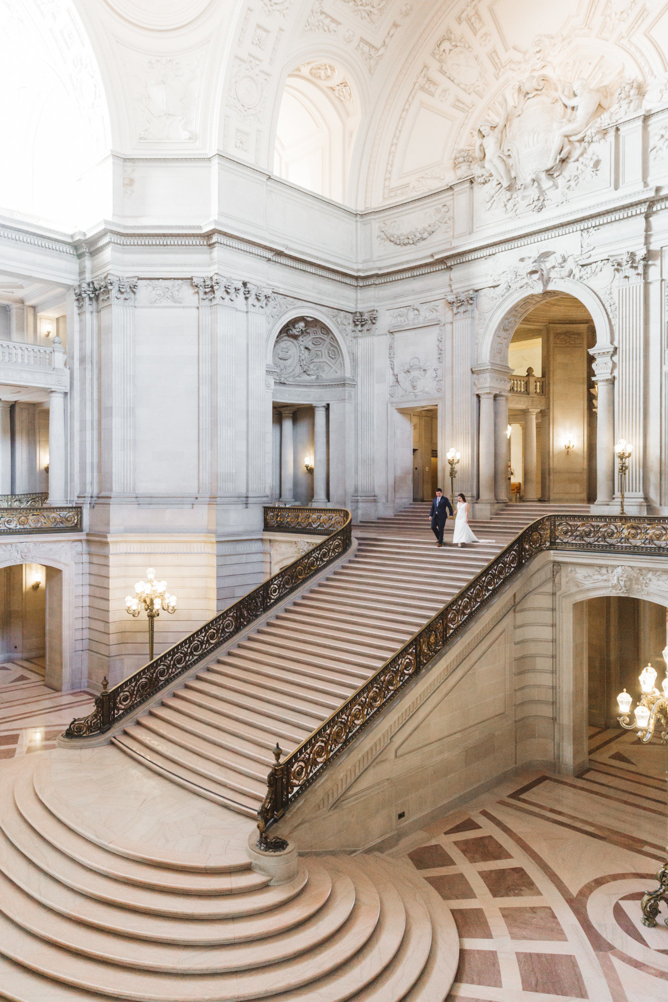 wide view of grand staircase at City Hal SF