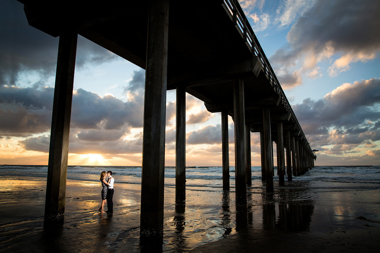 Scripps Pier engagement photos gorgeous sunset