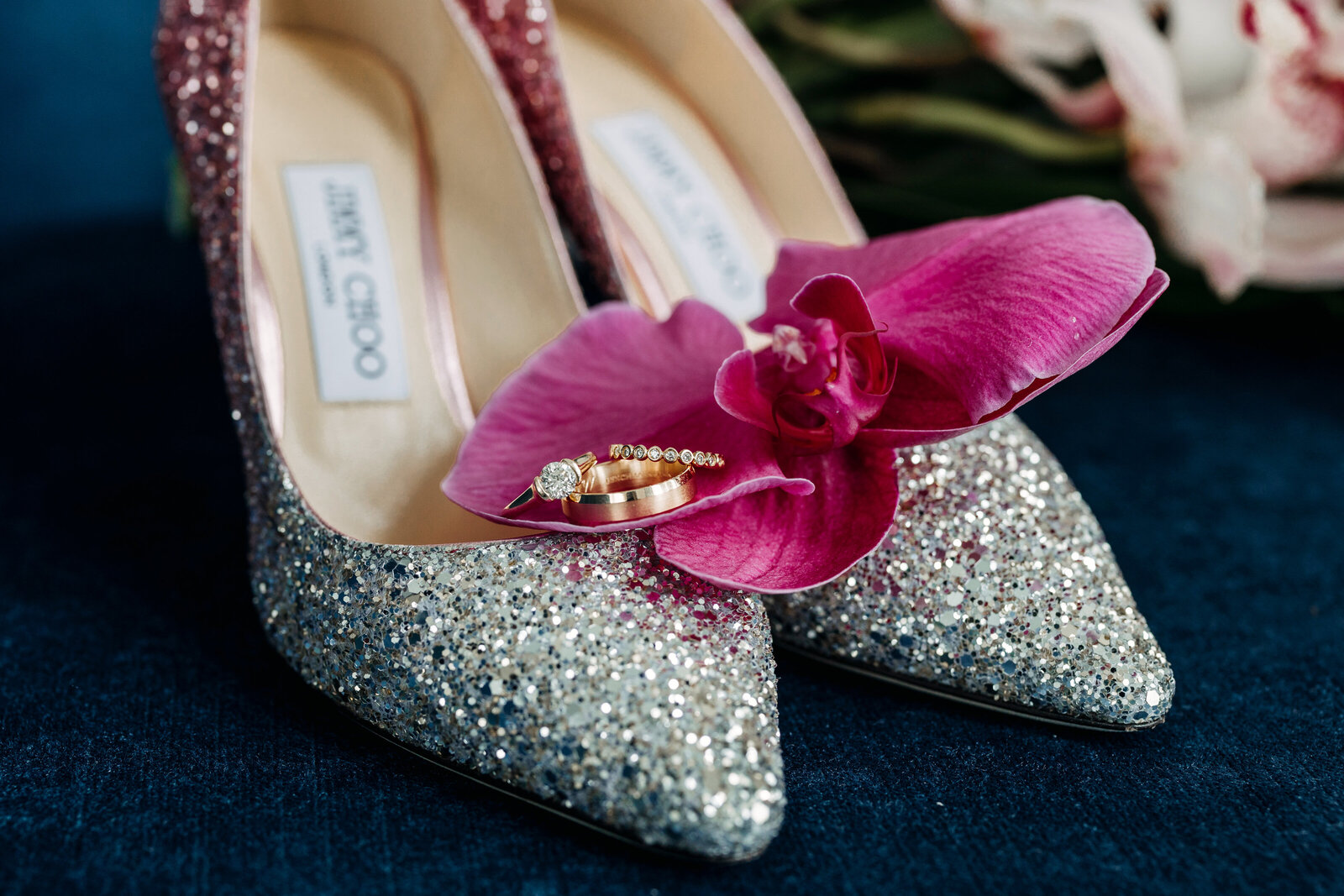 jimmy choo glitter shoes with wedding rings