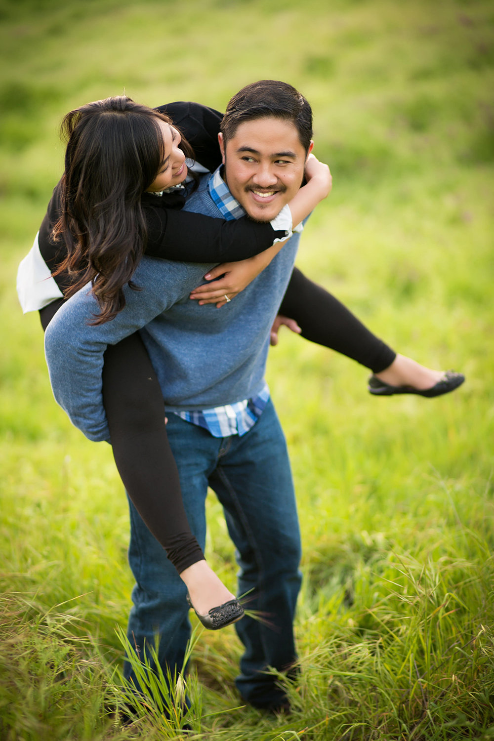 Mission Trails engagement photos fun piggyback ride