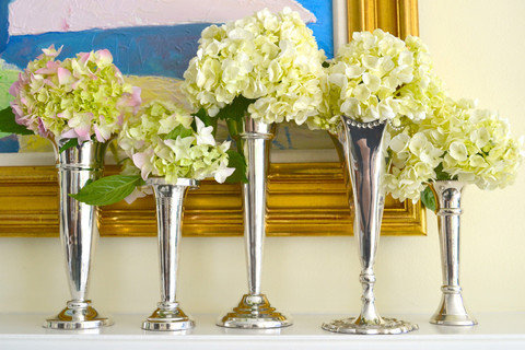 antique silver biug vases flower arrangements