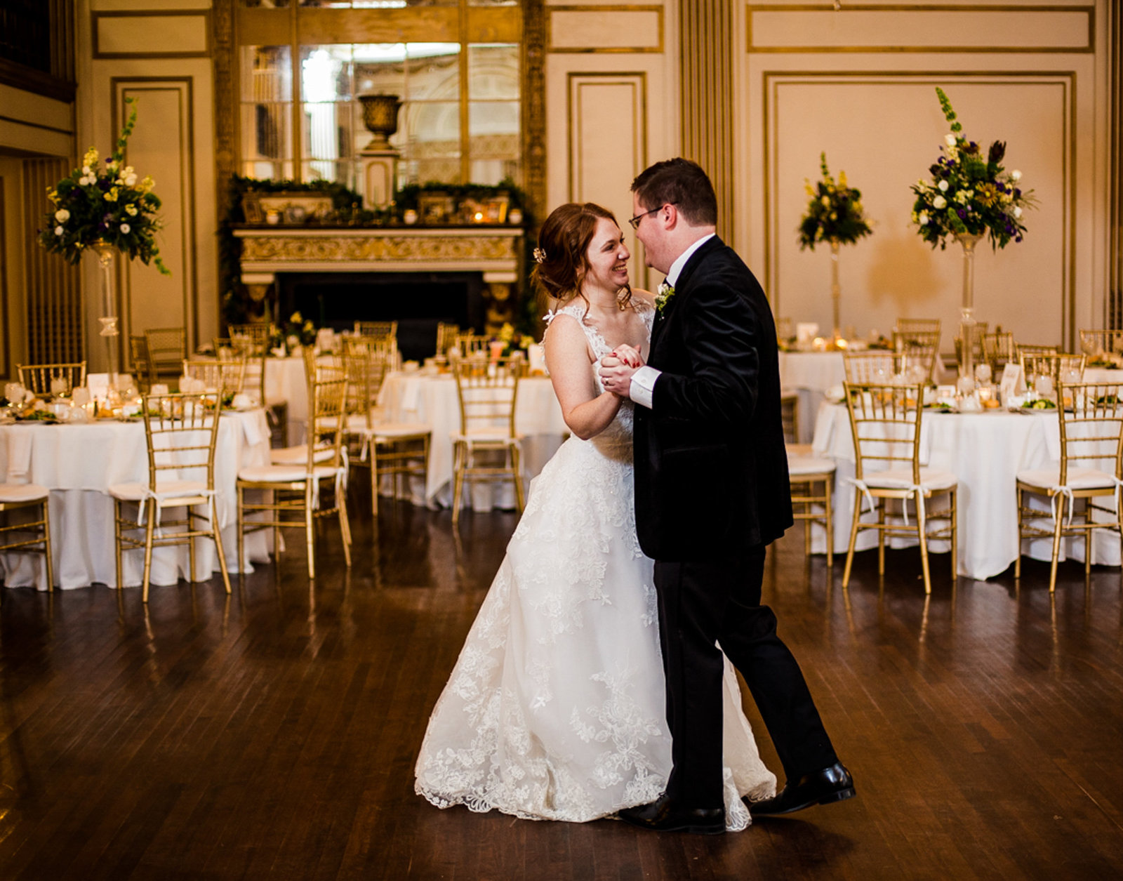 Bride and groom practice forst dance at the George Washington Hotel's Grand Ballroom