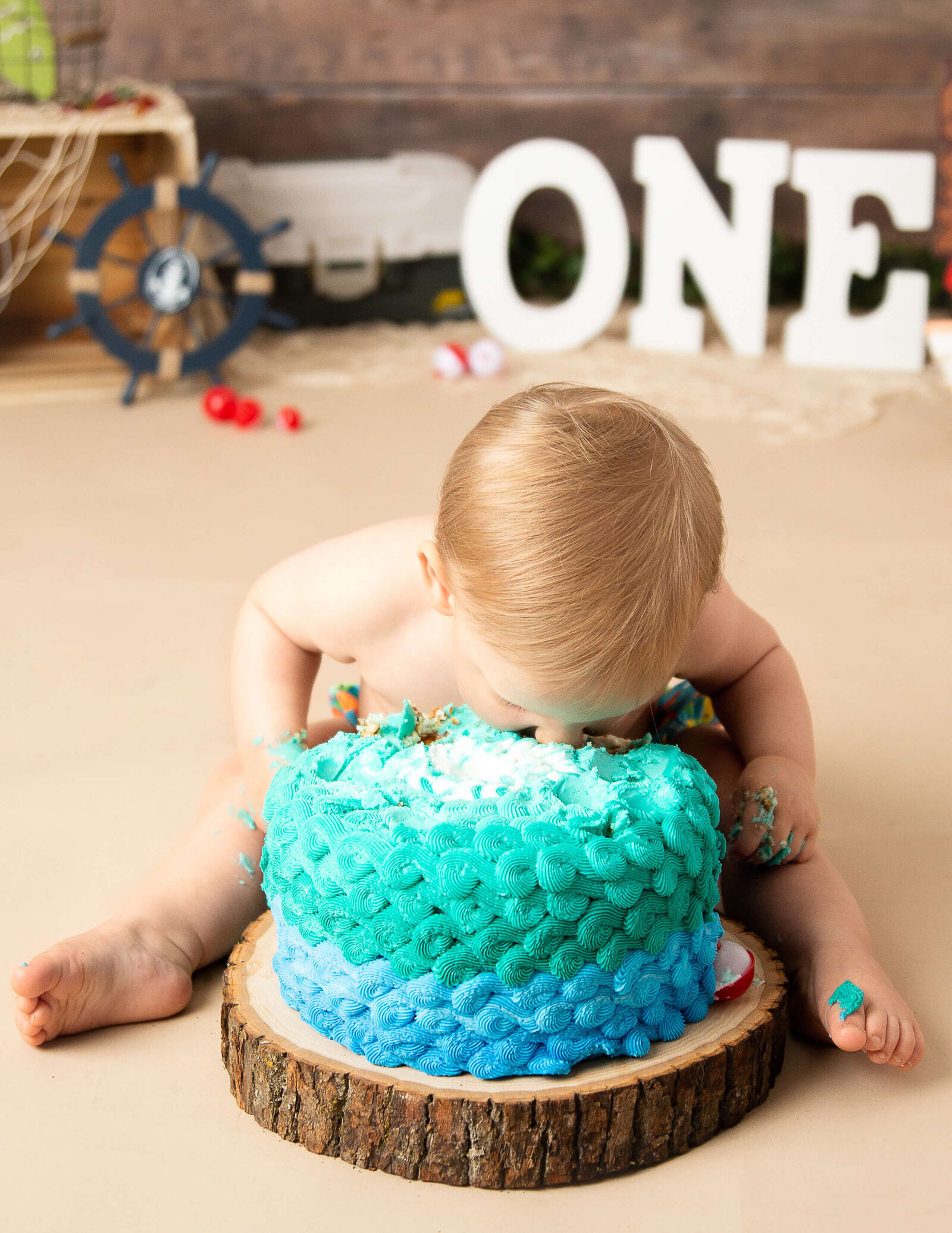 One year old cake smash at our in-home studio.