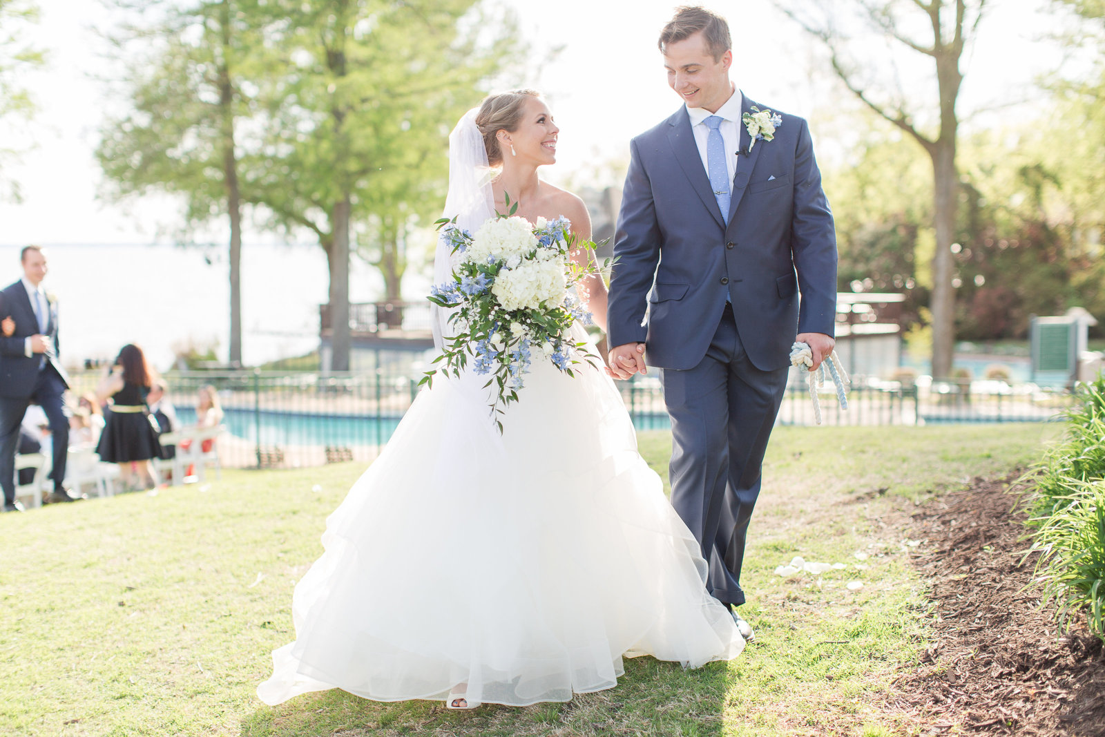 couple after they were married at james river country club
