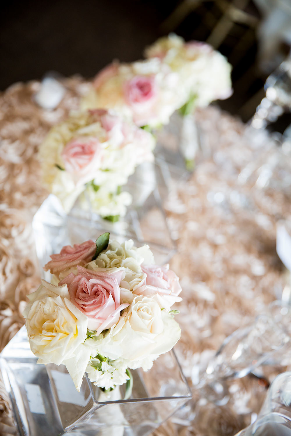beautiful ceremony flowers with white and blush