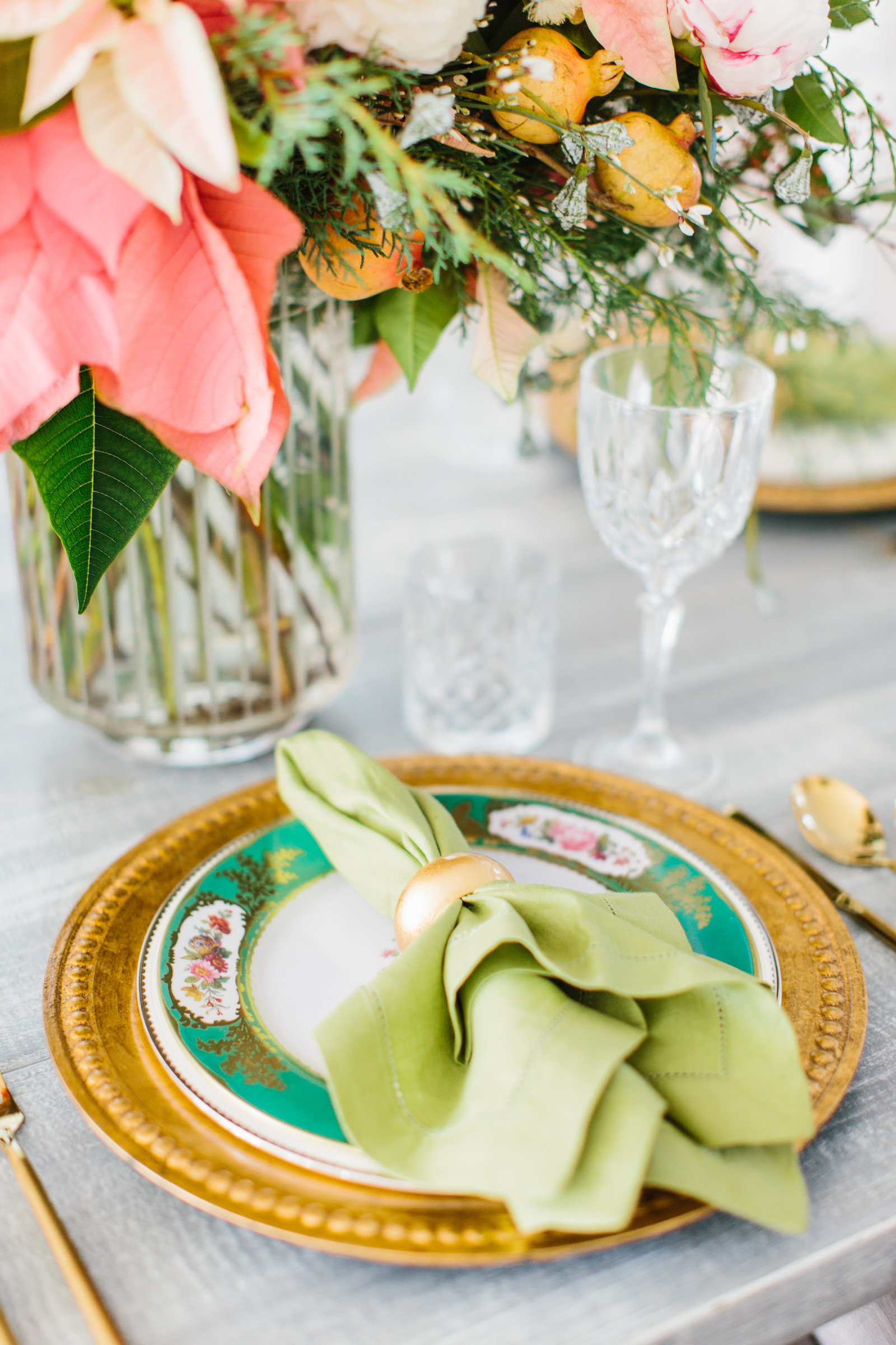 pink and green place setting