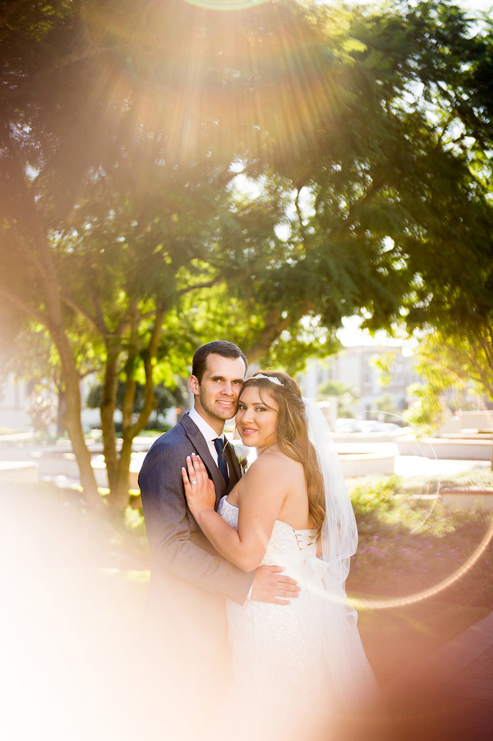 stunning image of bride and groom at immaculata