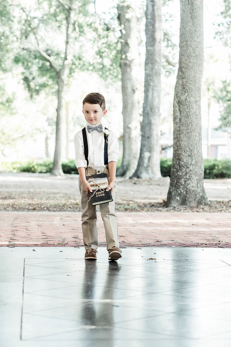 Ringbearer walks up the aisle, Coleman Hall, Mt Pleasant, South Carolina