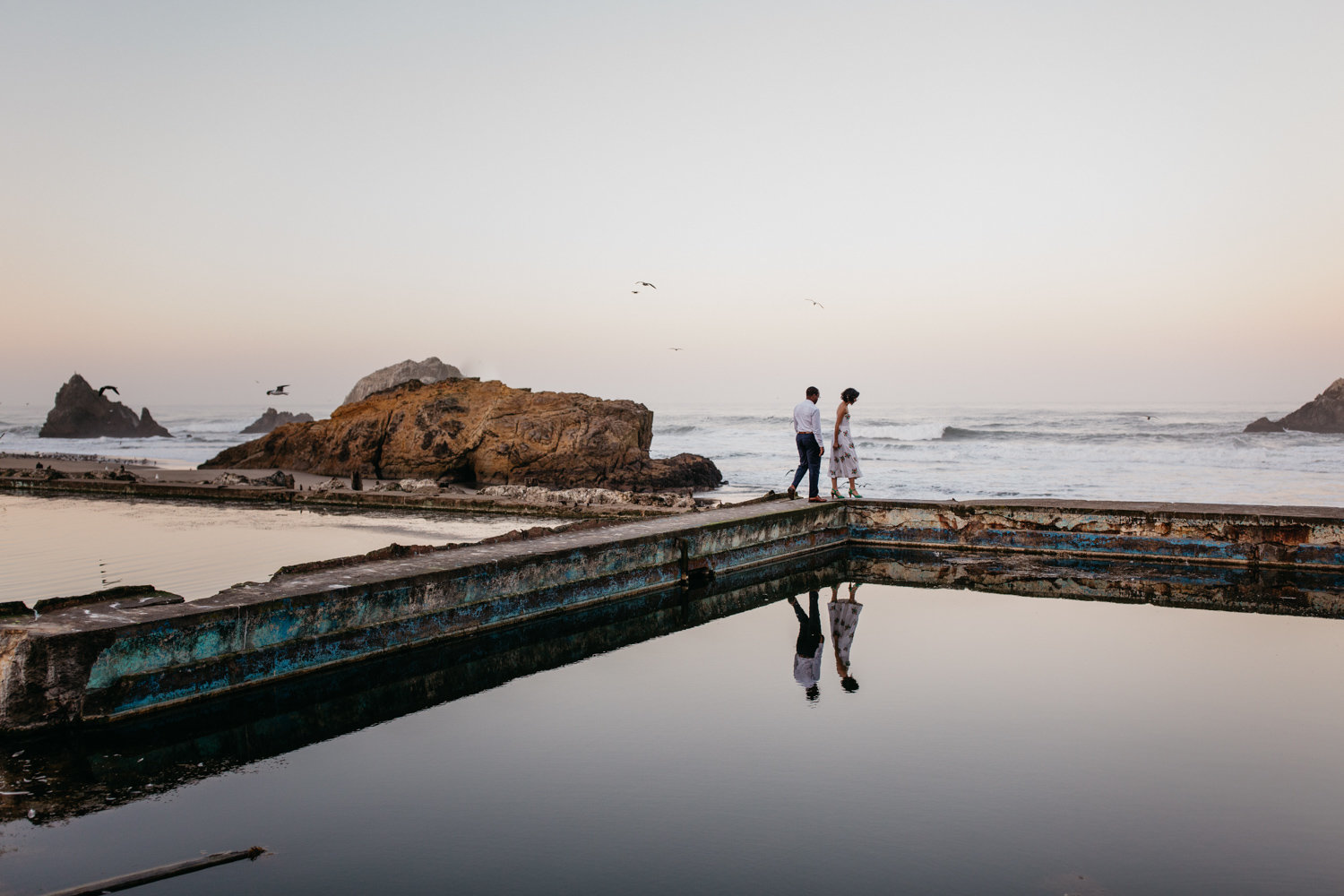 engagement photos at sutro baths san francisco california