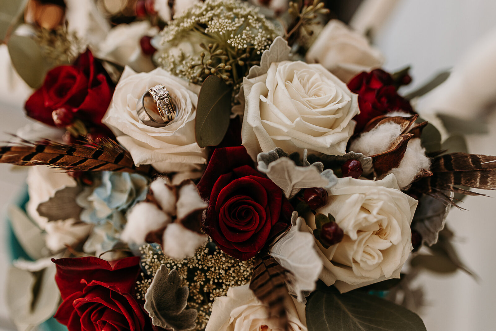 bridal bouquet and wedding bands at willowick farm wedding in McDonough, Ga