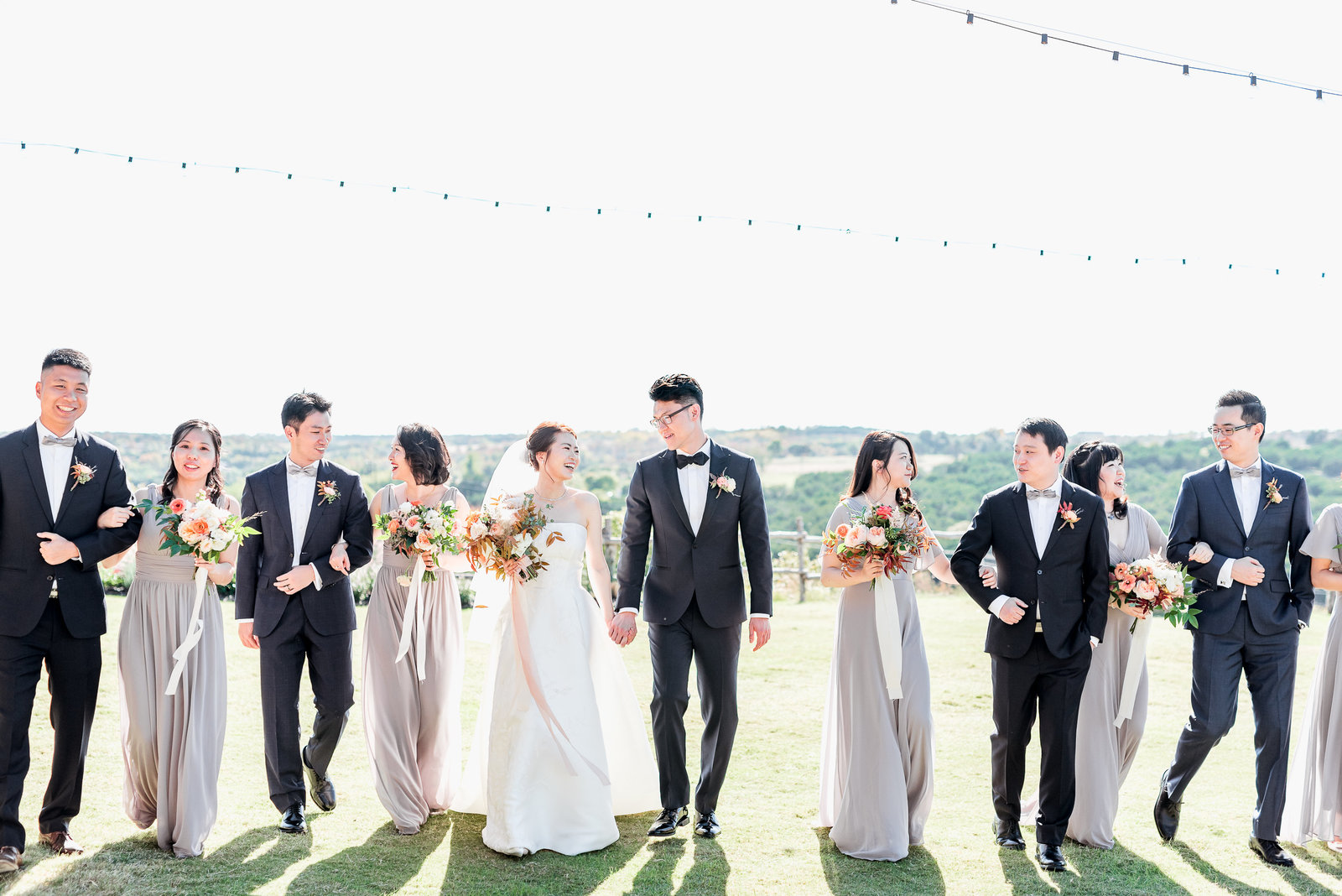 Portrait of Wedding Party at Dove Ridge Vineyard