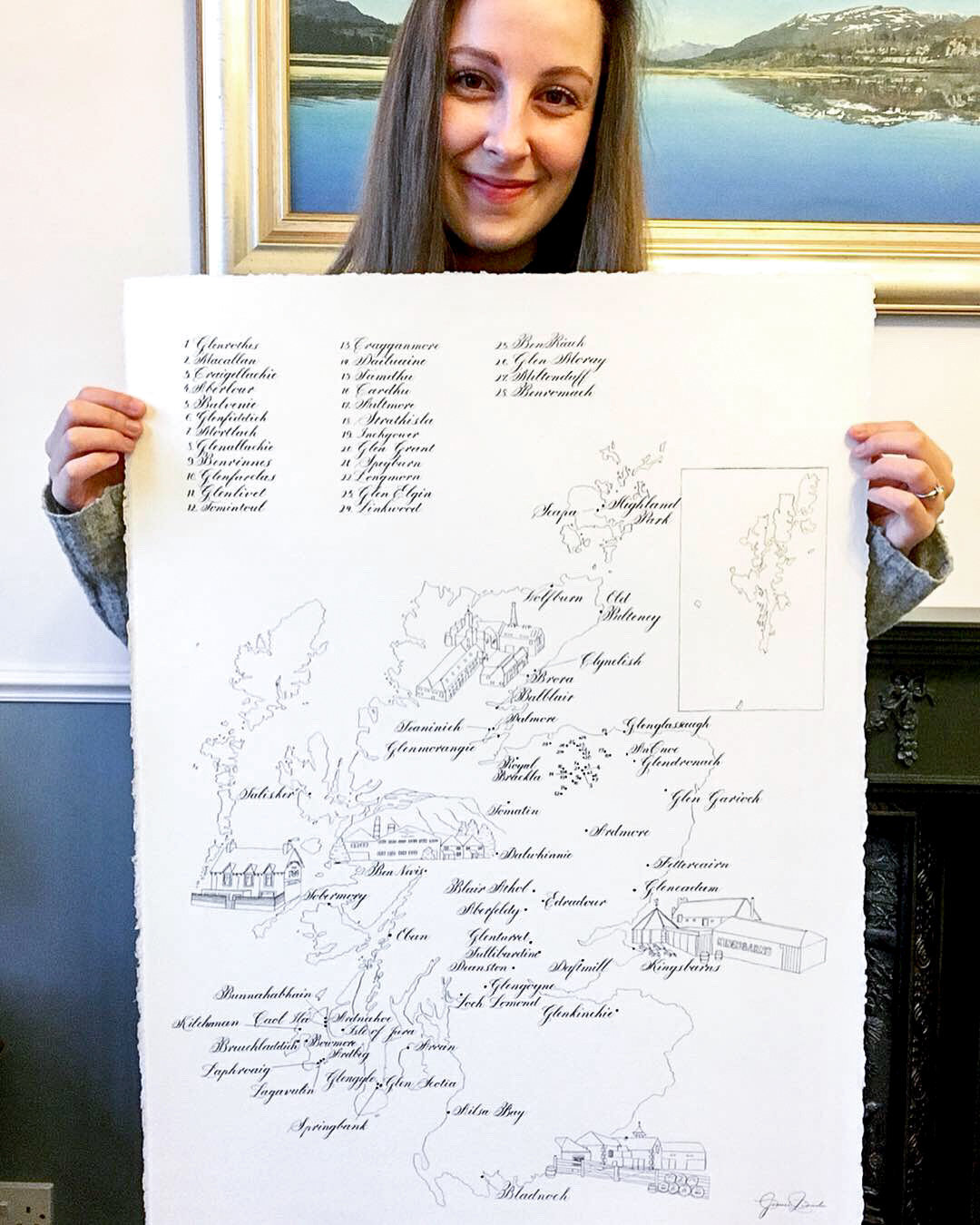Large Scottish Whisky Map | Jenni Liandu Calligraphy