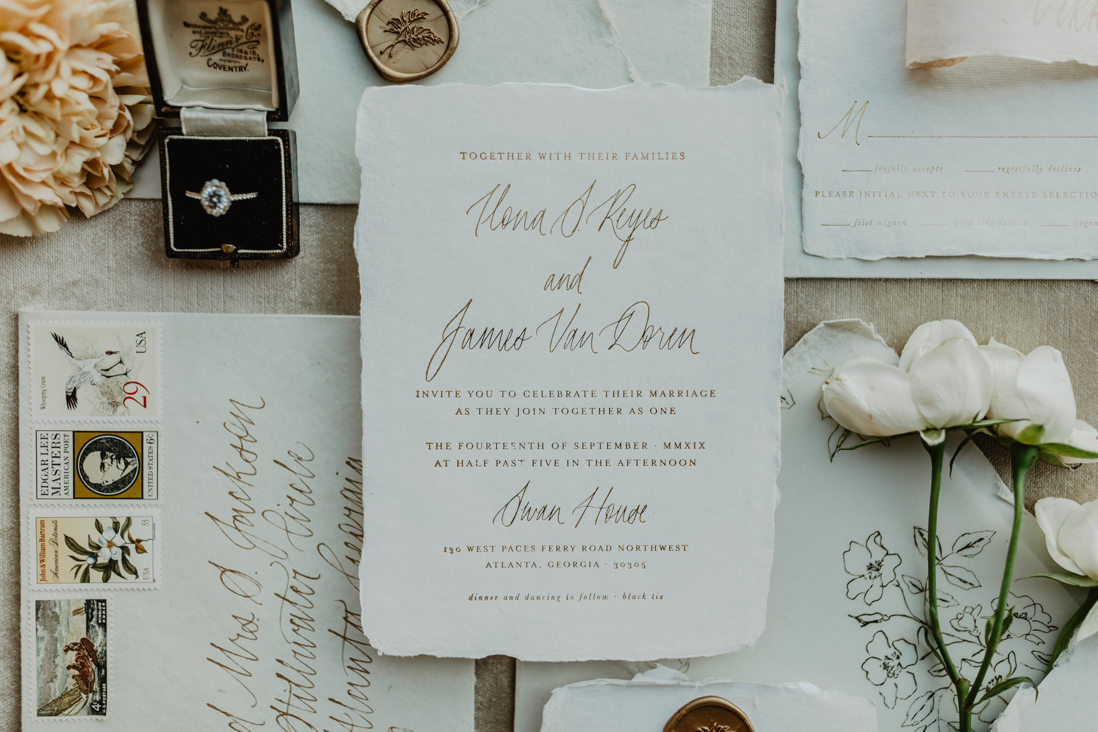 Modern meets old world invitation suite design.