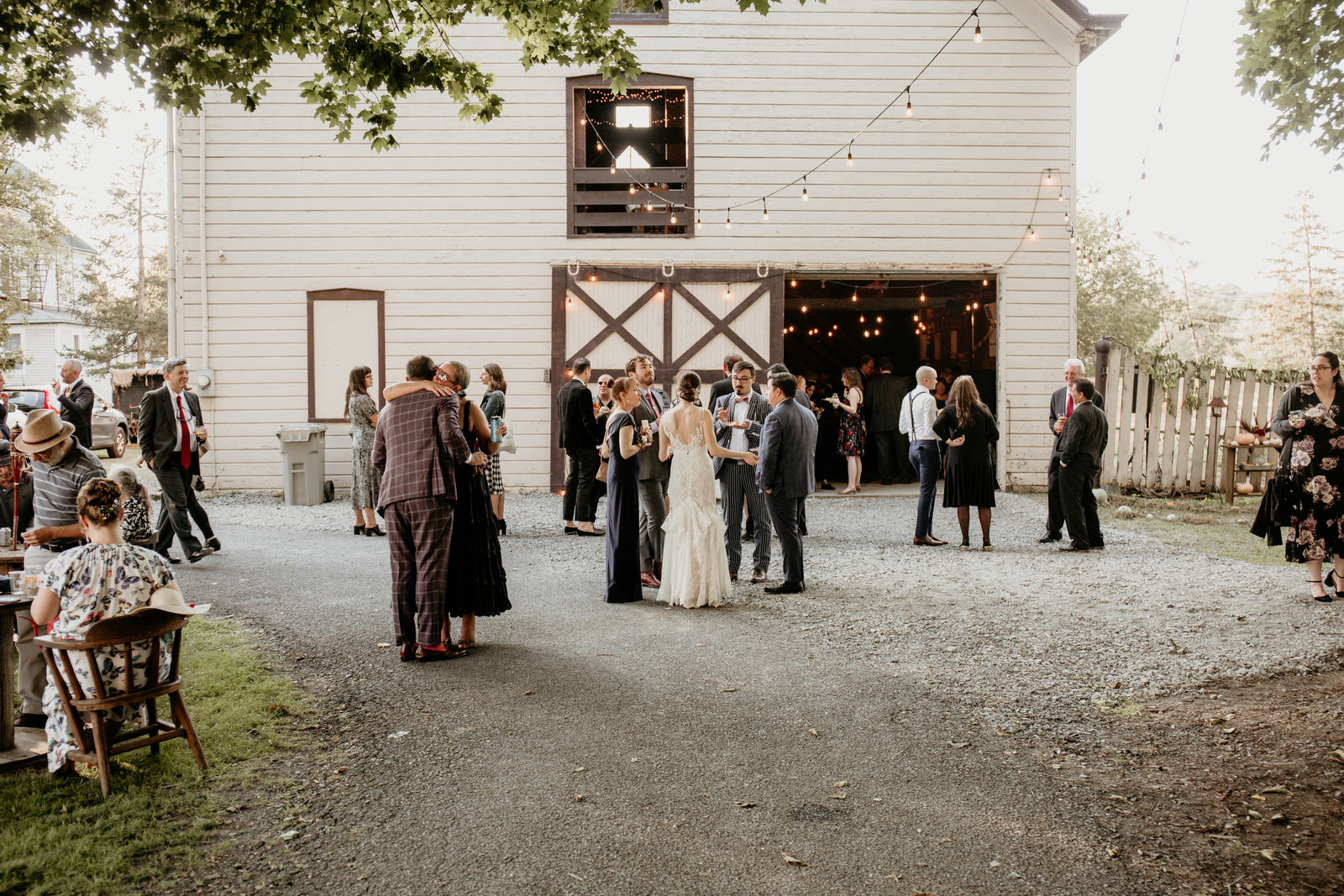 Barn wedding reception in Catskill, New York.