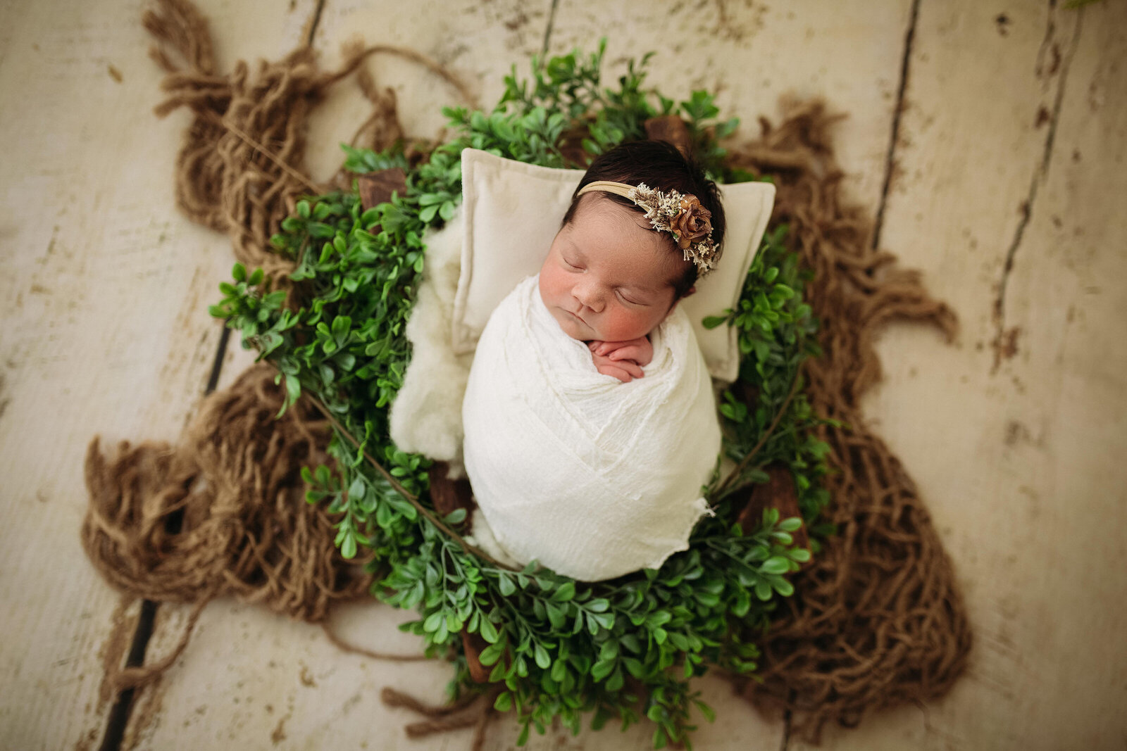 Professional studio portrait of newborn baby with props
