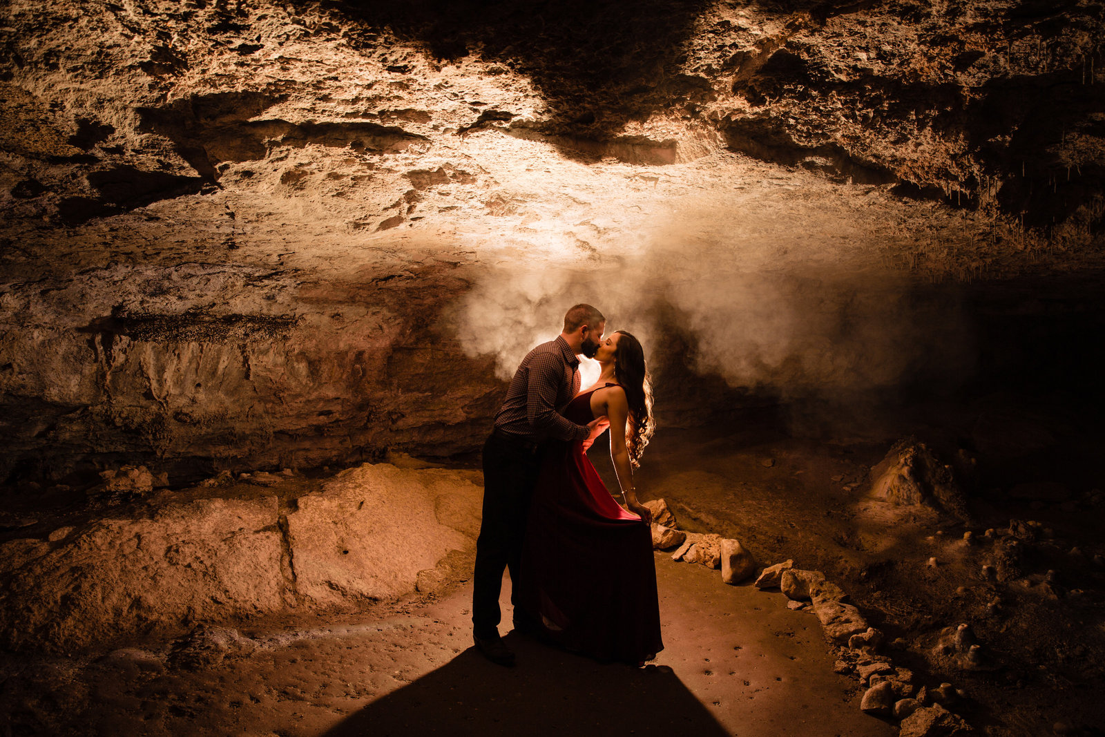 Adventure Engagement Session at Westcave Discovery Center in a cave
