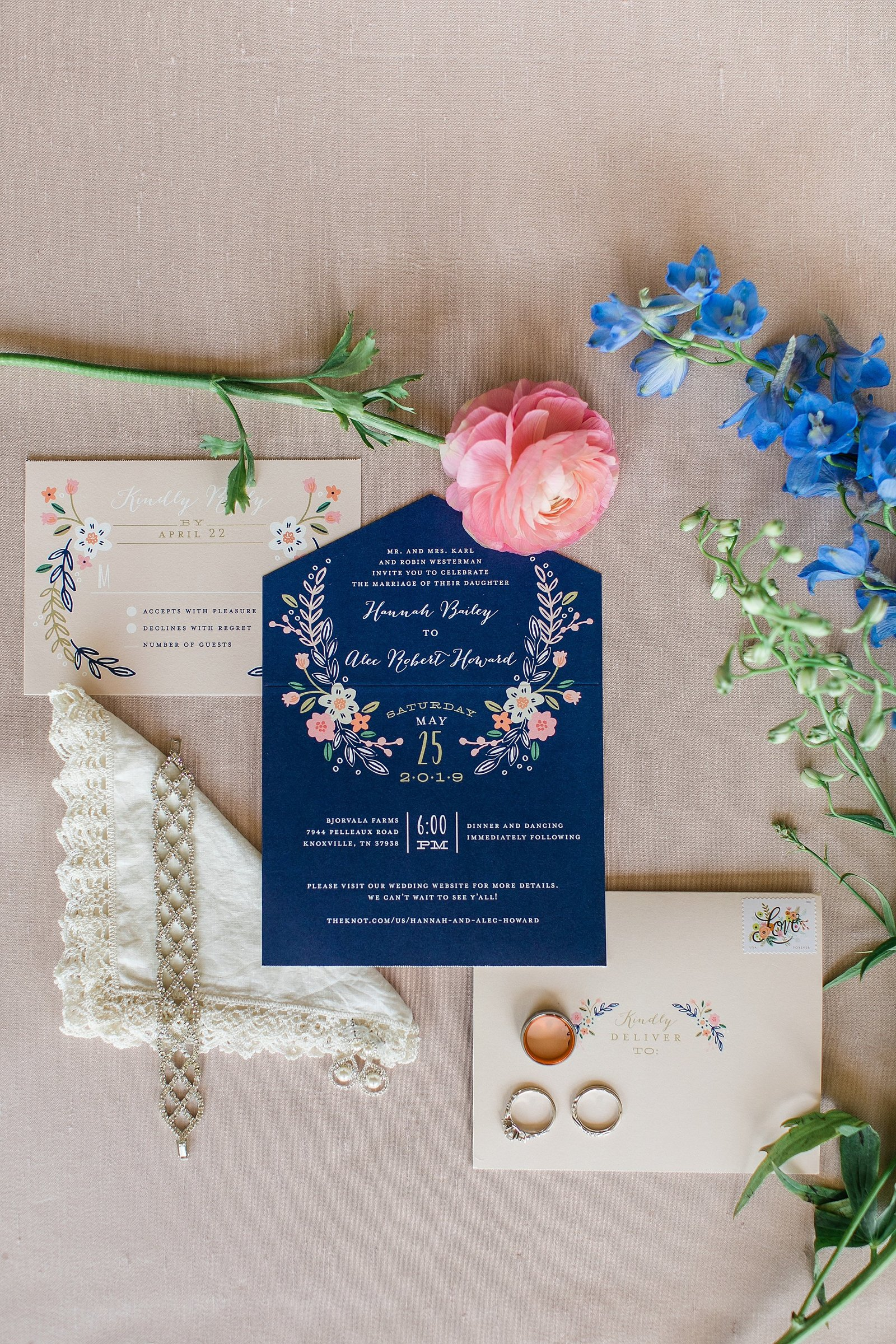pink-ranaucula-navy-wedding-invitation-lace