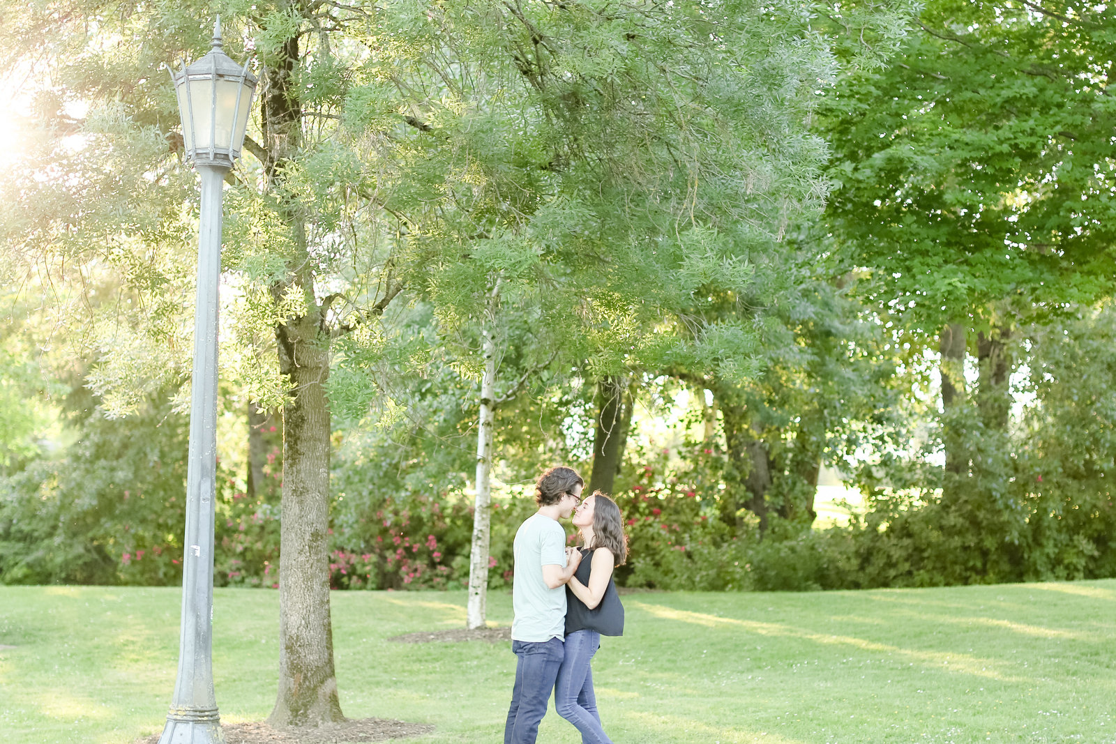 Couple kissing at park