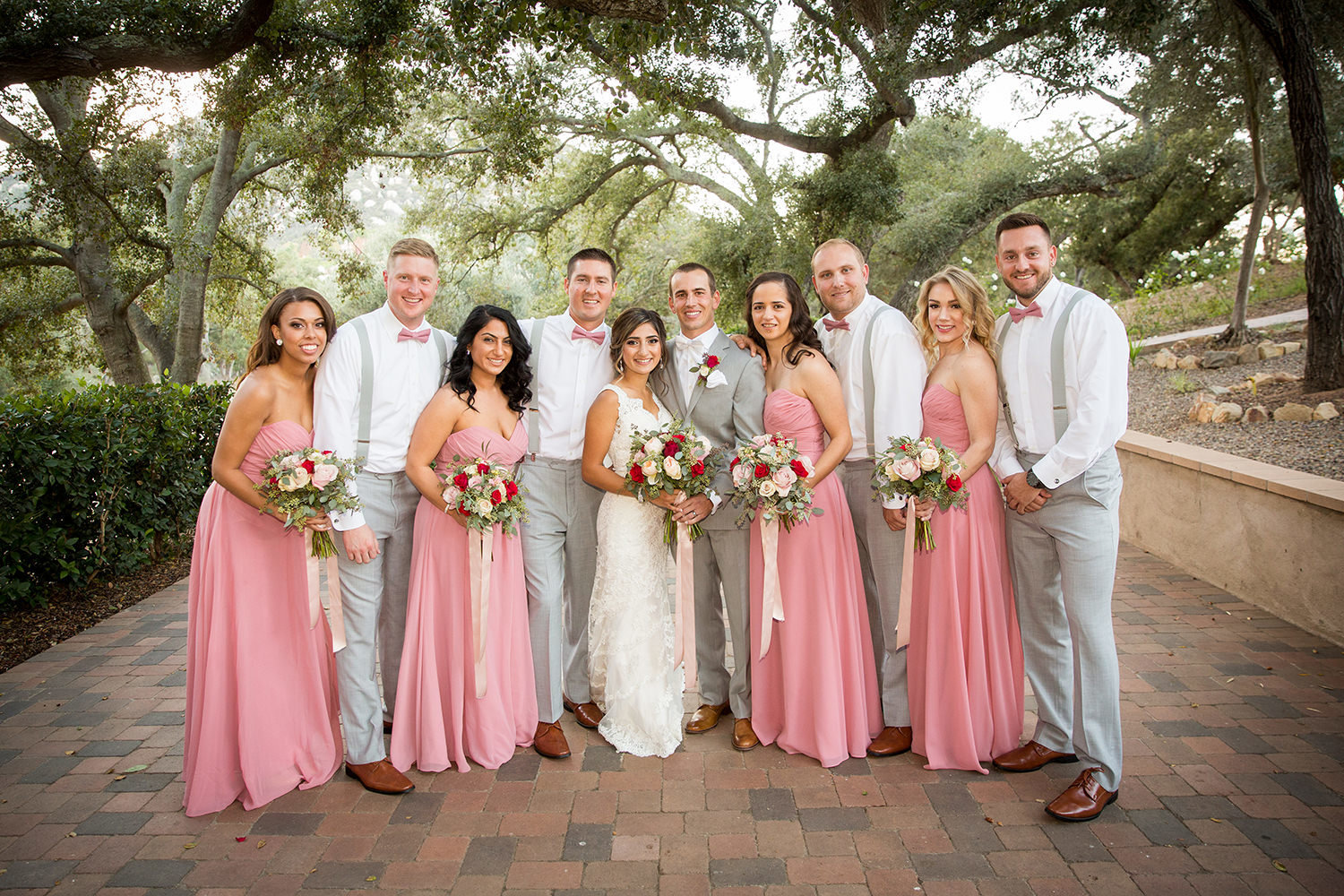 bridal party pink dresses
