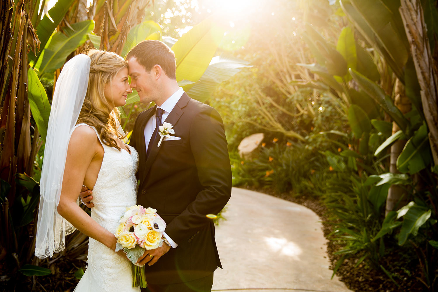 Beautiful wedding portrait with lens flare