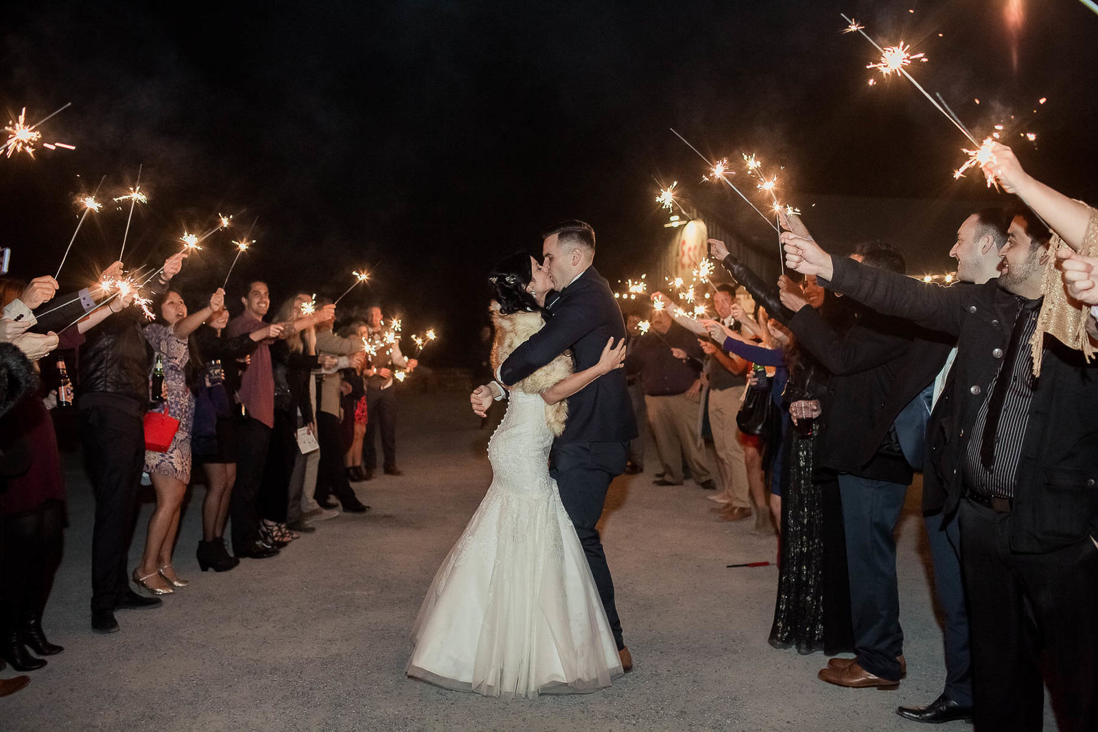 Bride and groom have a sparkler exit, Boals Farm, Charleston, South Carolina