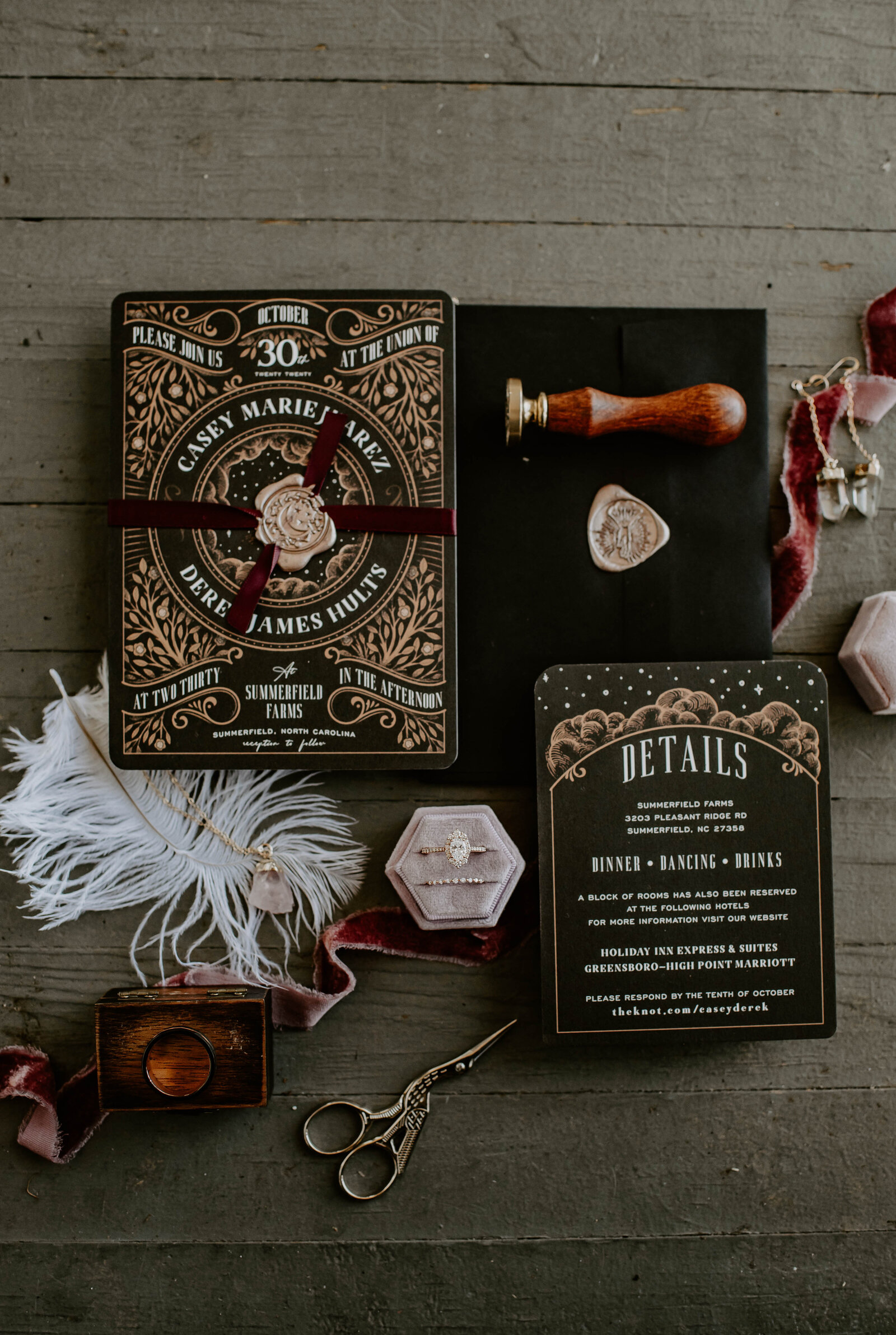 Eclectic wedding photography details for wedding in NoC