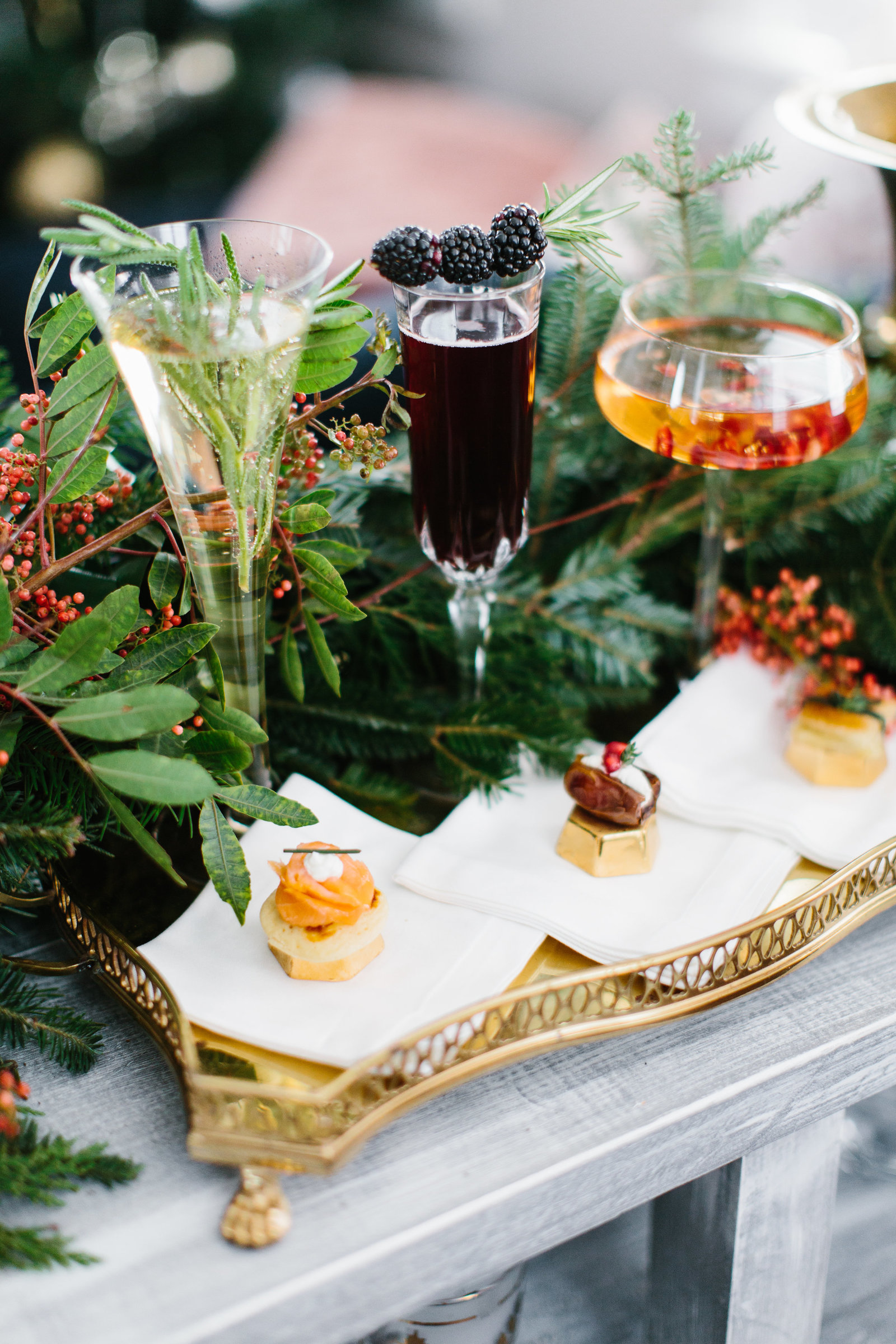 champagne cocktails and hors d' oeuvres