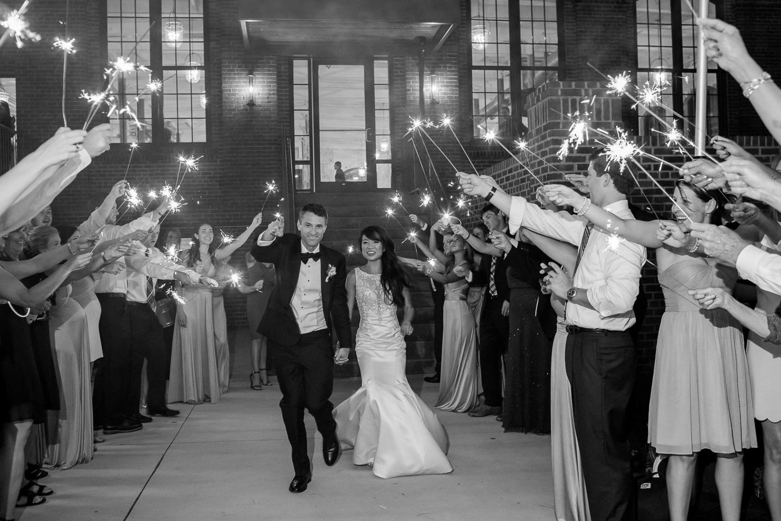 Bride and groom have sparkler exit, The Cedar Room, Charleston, South Carolina